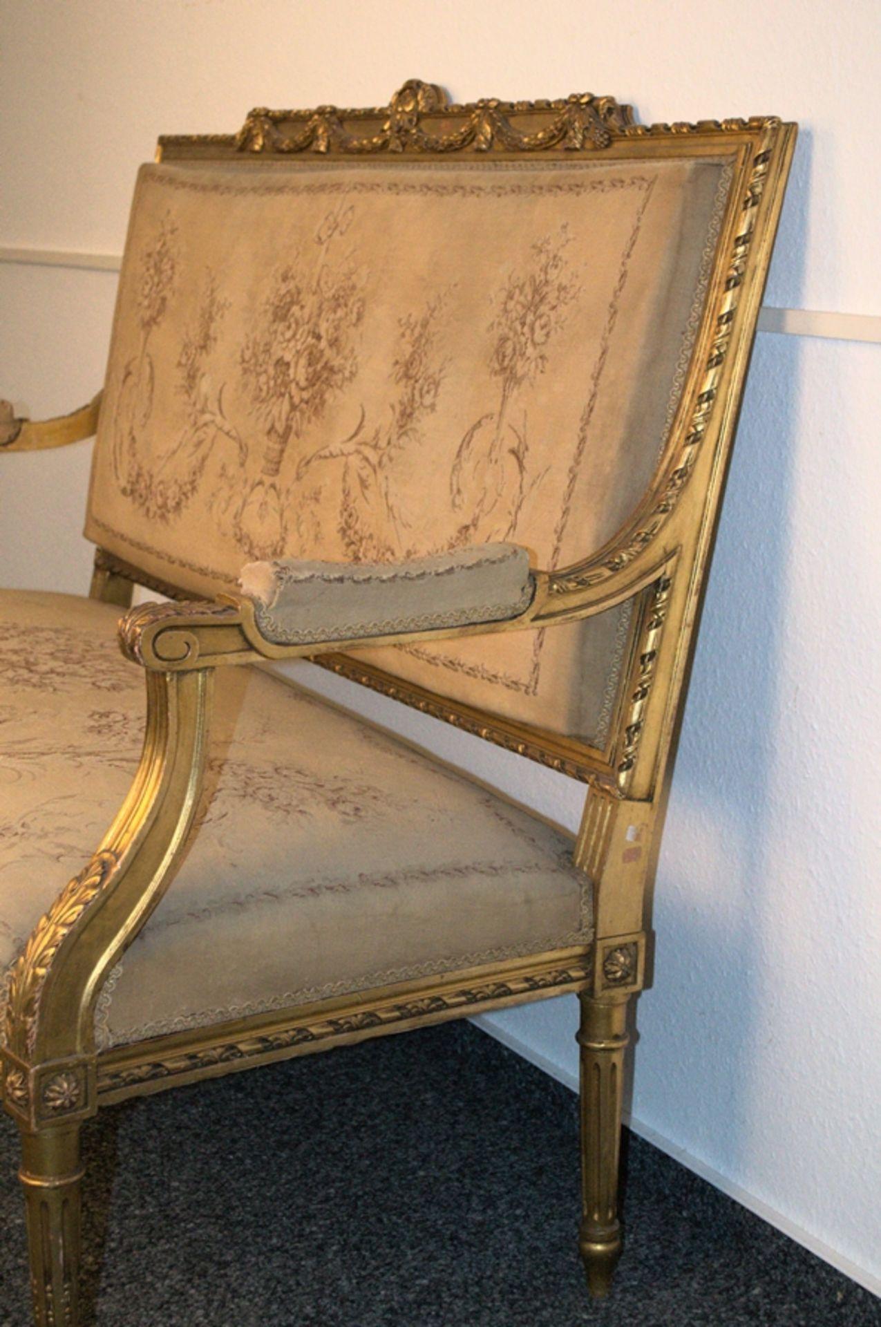Prachtvolles Kanapee, Louis XVI-Stil, Frankreich um 1890. Zweisitzige, gepolsterte Sitzbank, - Bild 11 aus 12