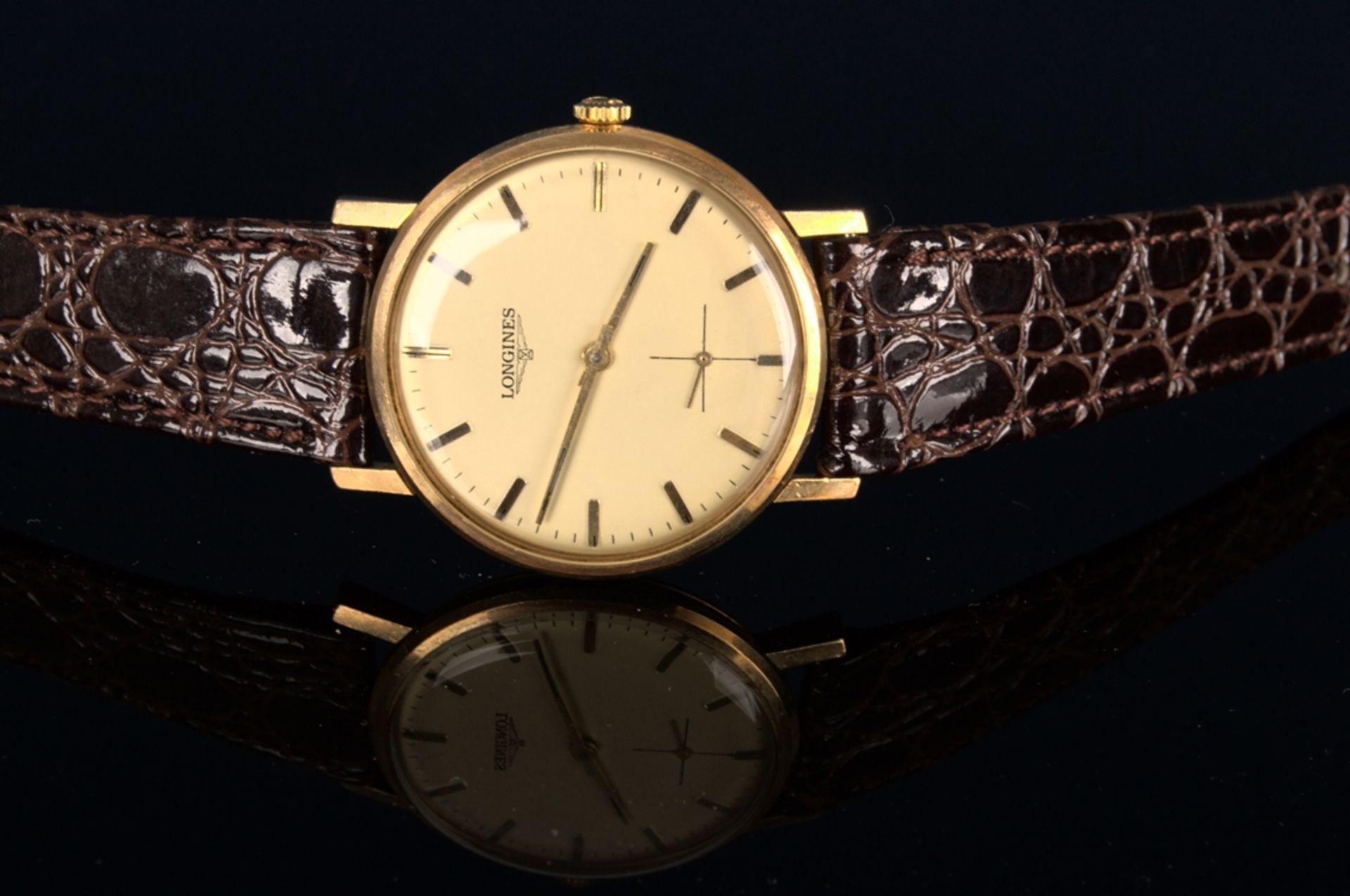 """""""LONGINES"""" - Elegante, goldene Herrenarmbanduhr der Marke Longines. Gehäuse in 18 K Gelbgold, - Bild 4 aus 12"""