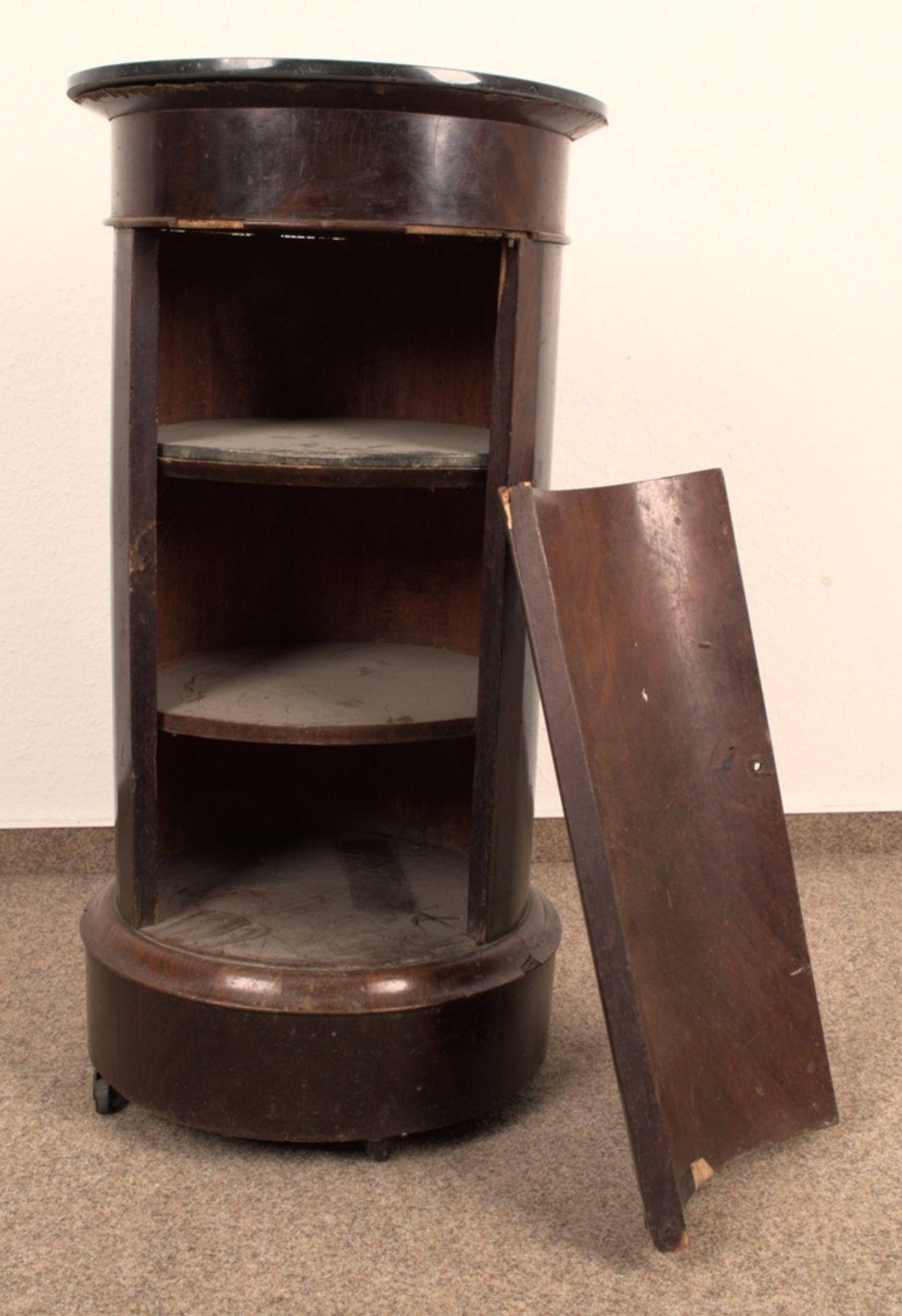 Antiker Säulenschrank/Trommelschrank, Biedermeier/Charles X, Frankreich 19./20. Jhd. Auf - Bild 5 aus 7