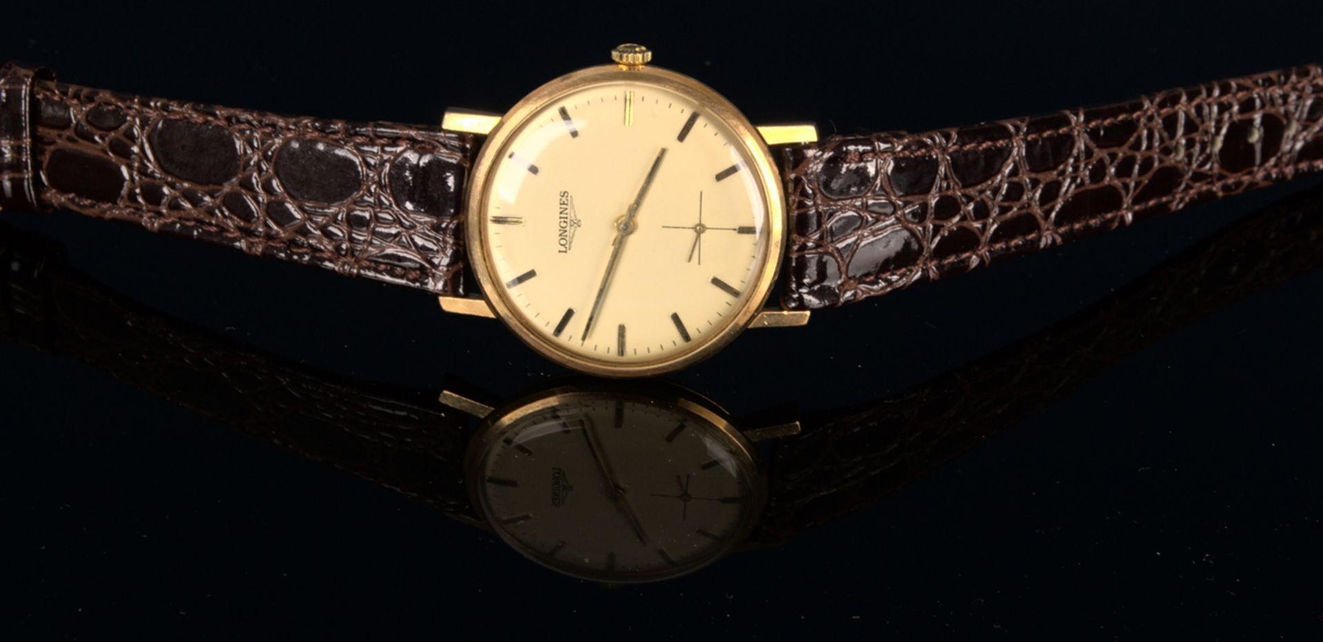 """""""LONGINES"""" - Elegante, goldene Herrenarmbanduhr der Marke Longines. Gehäuse in 18 K Gelbgold, - Bild 6 aus 12"""