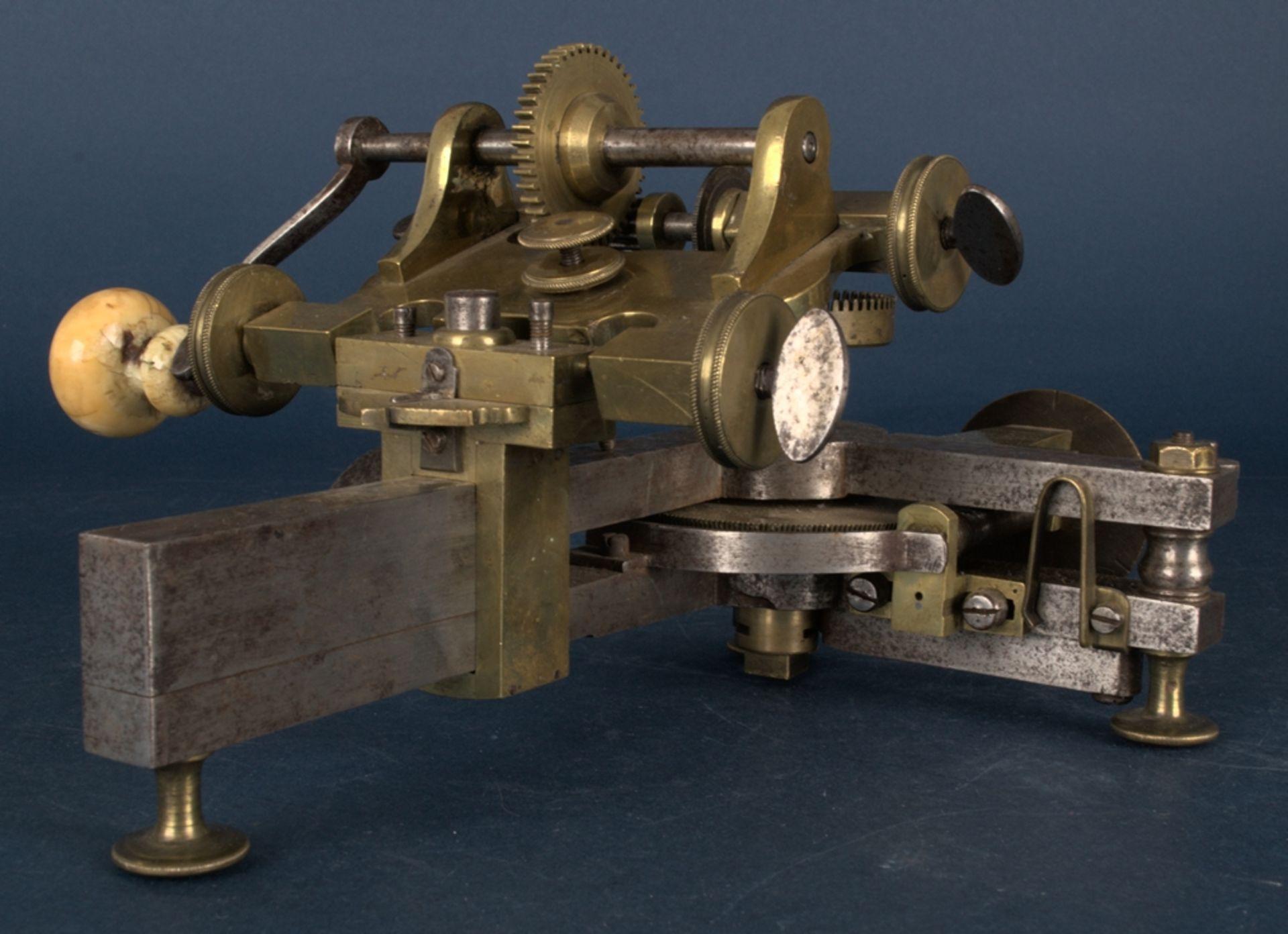 Zahnradfräsmaschine/Zahnräderschneidemaschine, frühes Uhrmacherwerkzeug, deutsch Mitte 18. Jhd., - Bild 22 aus 29