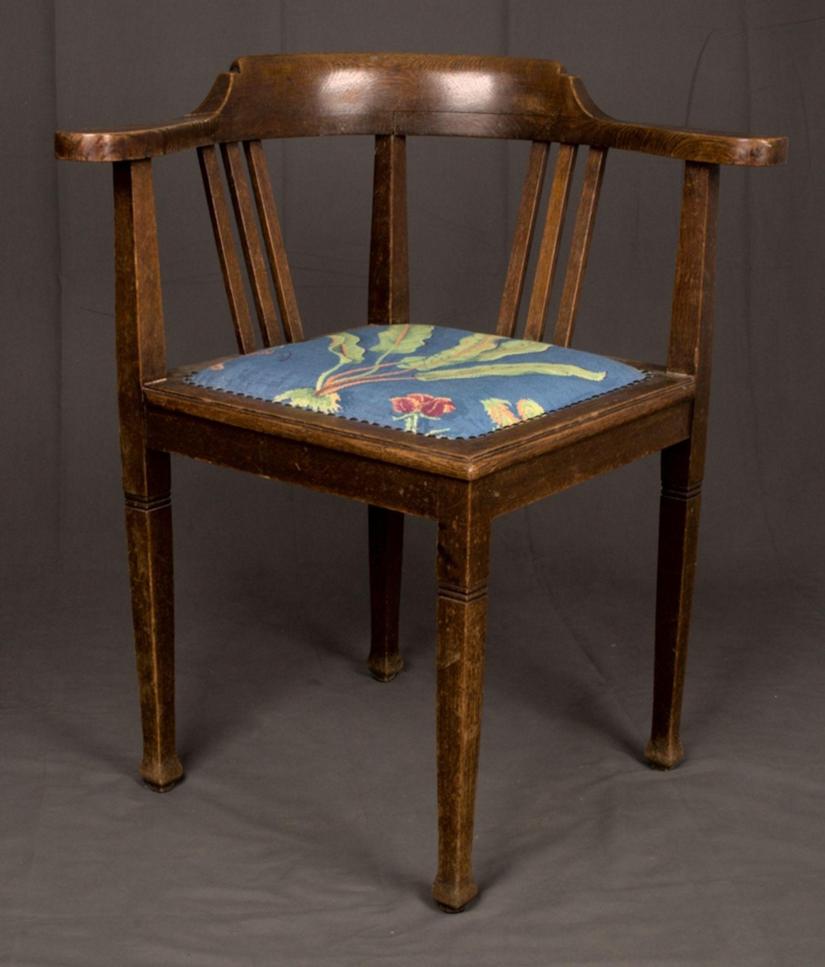 Schreibtischstuhl, Jugendstil deutsch um 1900/20. Eiche massiv, Gestell zu verleimen/unrestaurierter - Bild 3 aus 8