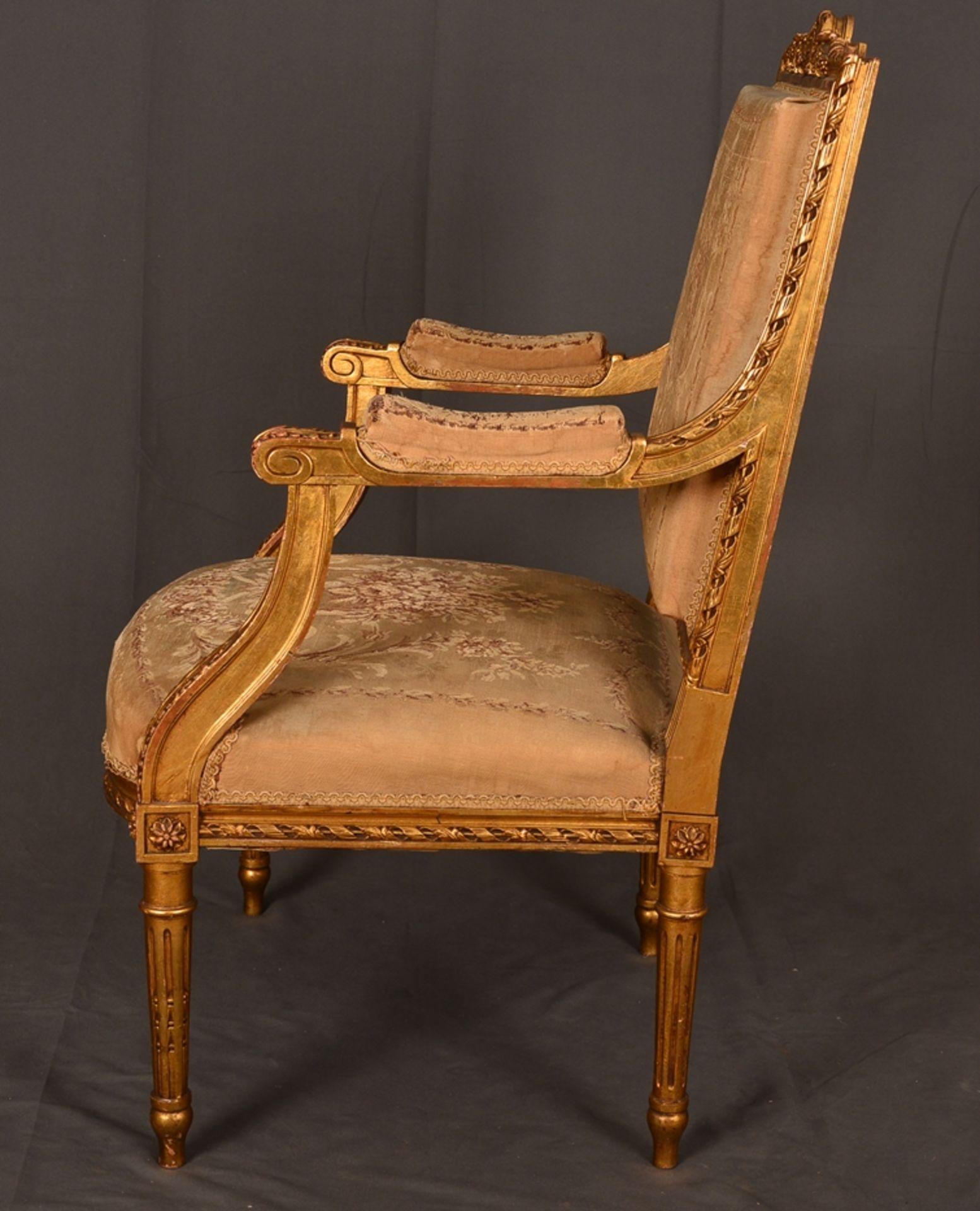 Eleganter Armlehnstuhl sog. Fauteuil, Louis XVI-Stil, Frankreich um 1890, originale Stoffbespannung, - Bild 9 aus 12
