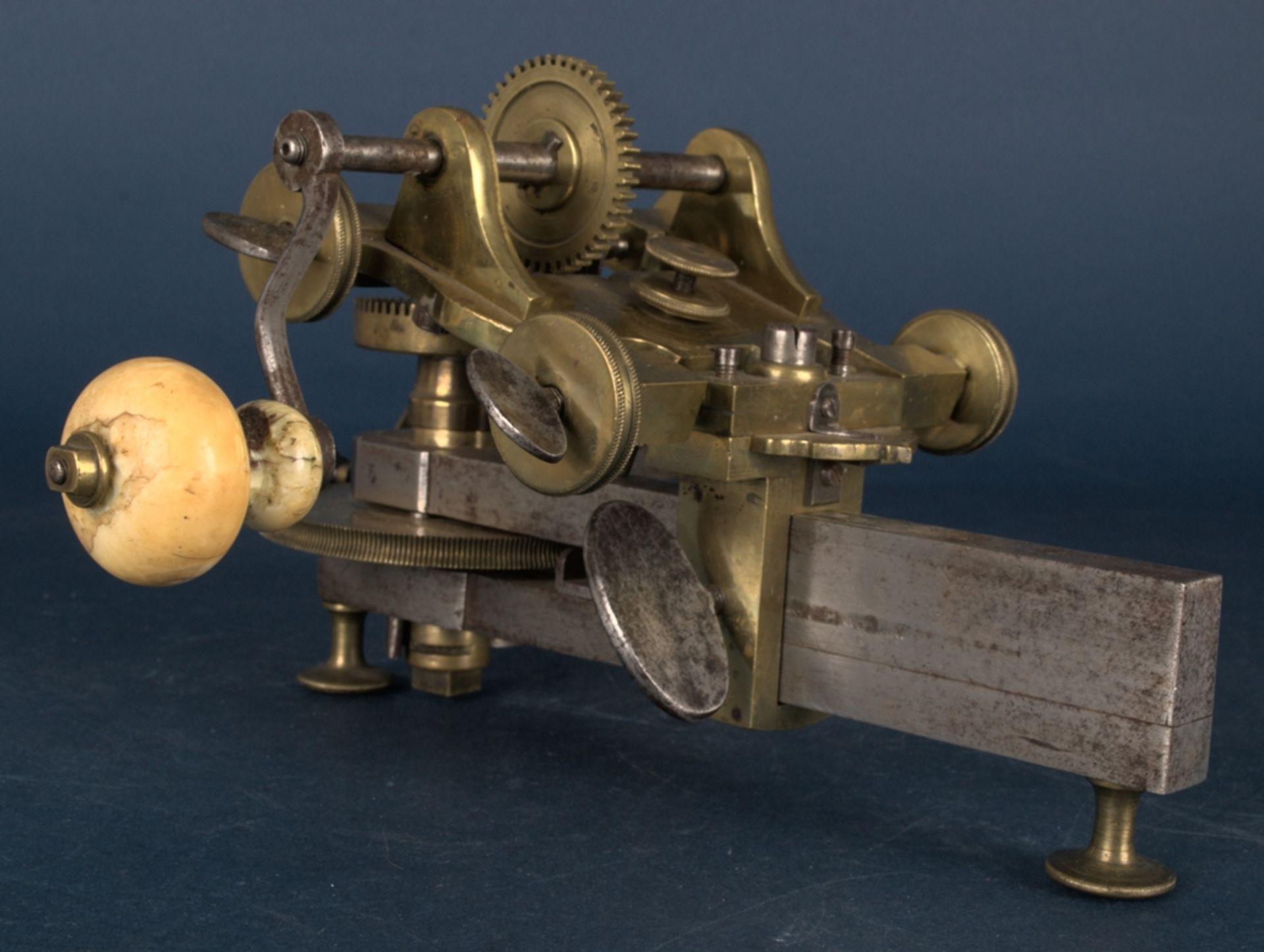 Zahnradfräsmaschine/Zahnräderschneidemaschine, frühes Uhrmacherwerkzeug, deutsch Mitte 18. Jhd., - Bild 24 aus 29