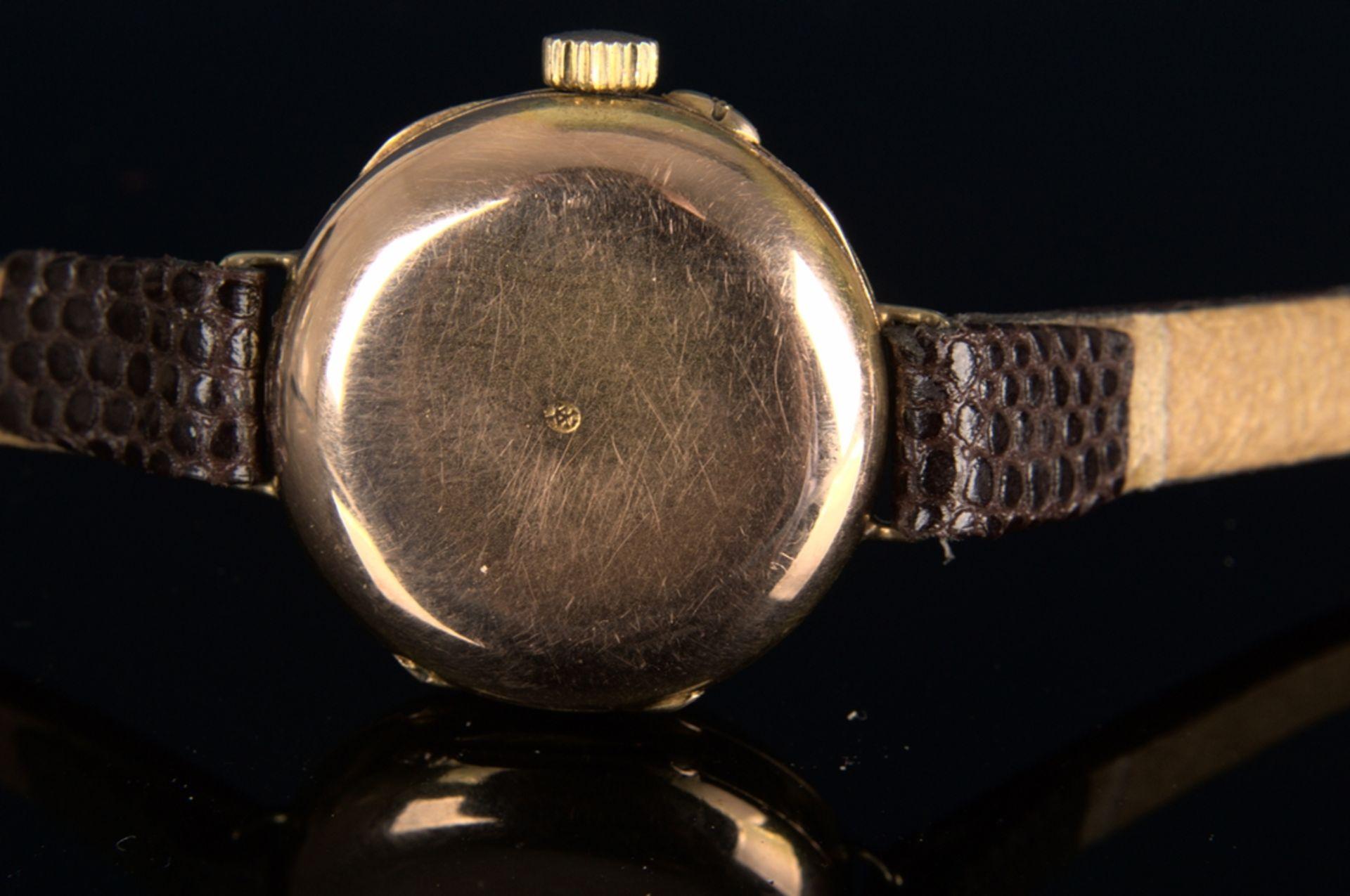Elegante, frühe Damenarmbanduhr, um 1900, rundes, an der Oberseite gewölbtes, massives 585er - Bild 5 aus 9