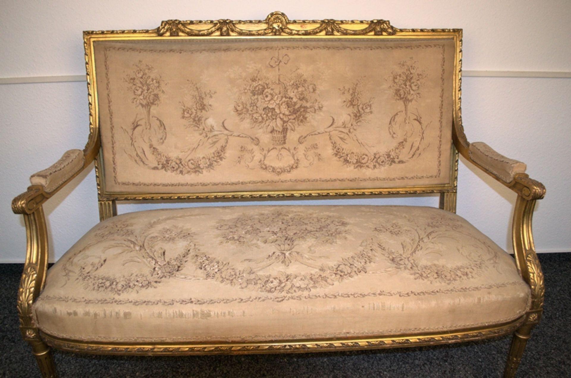Prachtvolles Kanapee, Louis XVI-Stil, Frankreich um 1890. Zweisitzige, gepolsterte Sitzbank, - Bild 4 aus 12