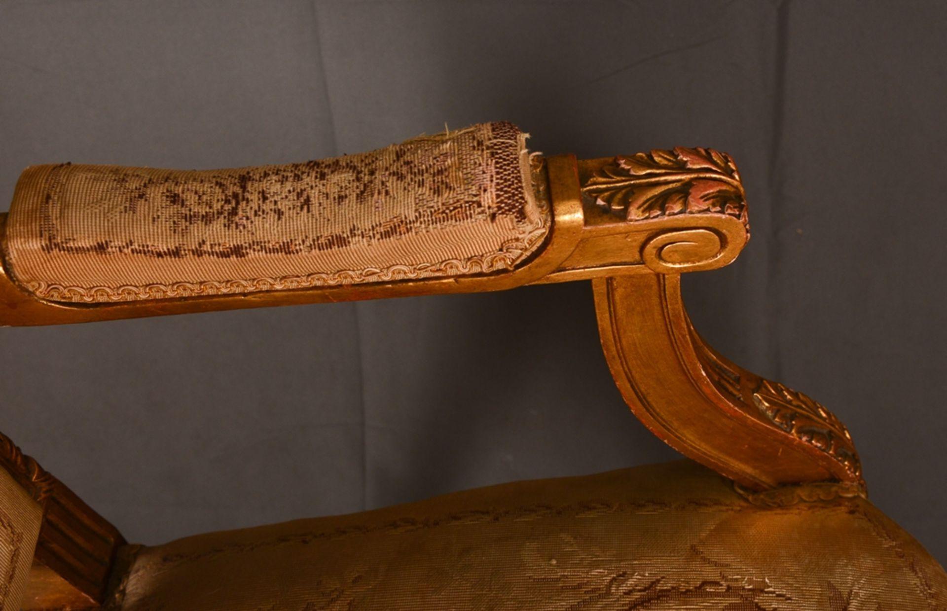 Eleganter Armlehnstuhl sog. Fauteuil, Louis XVI-Stil, Frankreich um 1890, originale Stoffbespannung, - Bild 8 aus 12