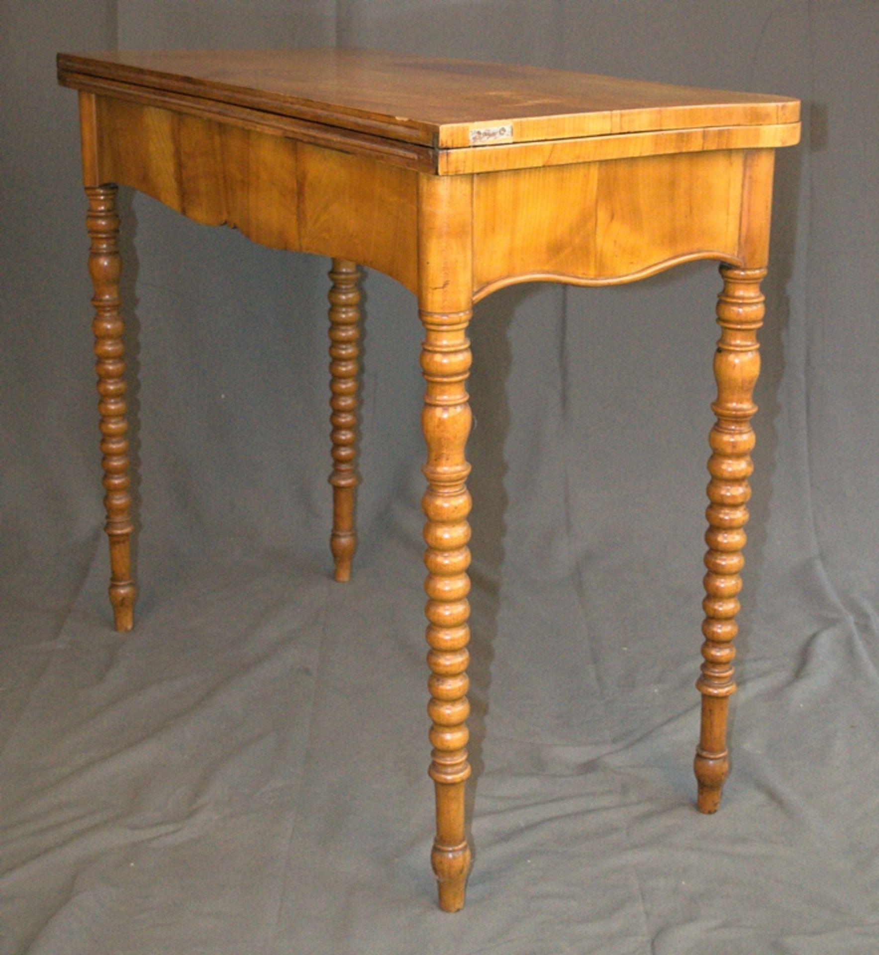 Konsoltisch/Spieltisch. Spätes Biedermeier um 1840/50. Kirschbaum massiv & furniert. Gepflegter - Bild 16 aus 24