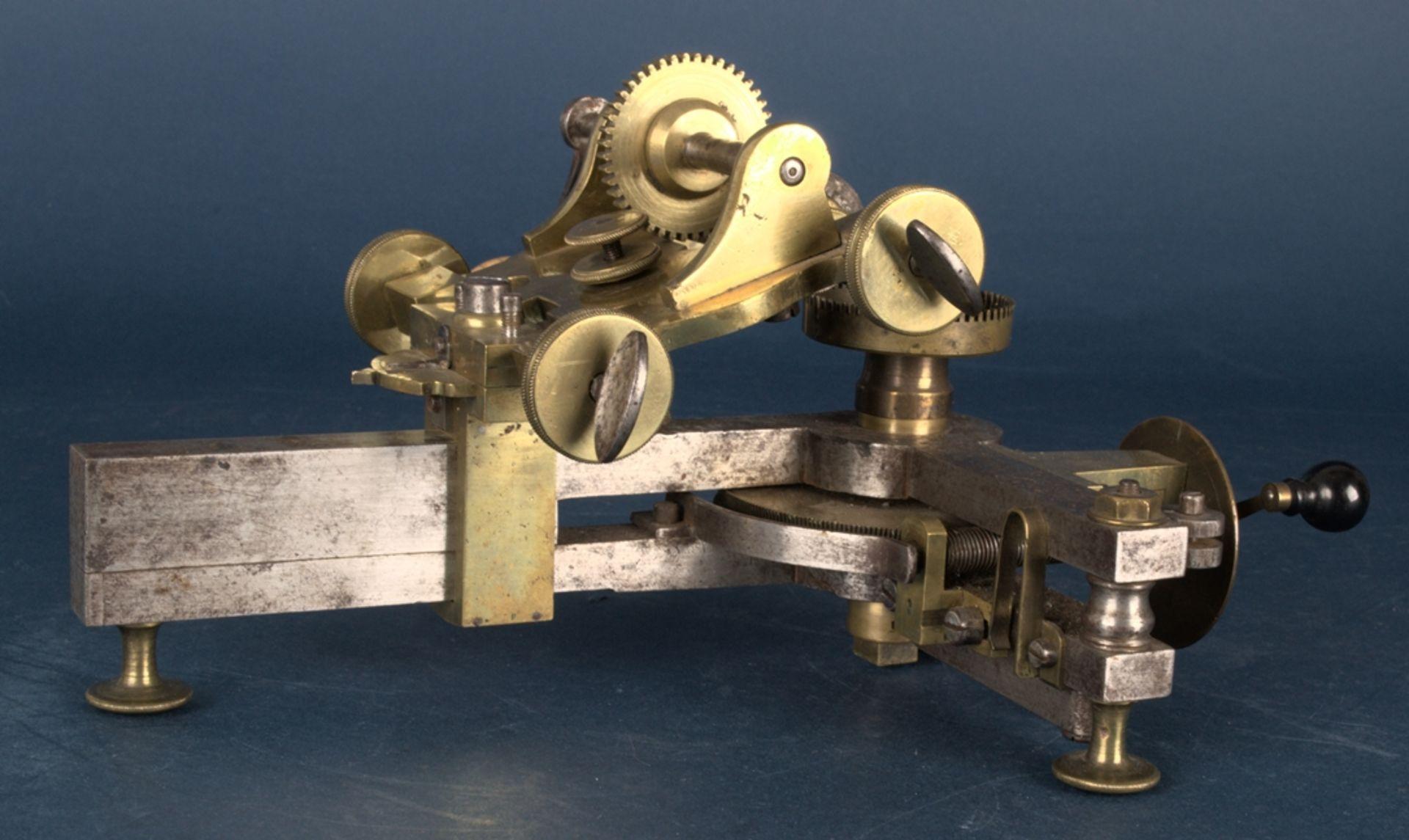 Zahnradfräsmaschine/Zahnräderschneidemaschine, frühes Uhrmacherwerkzeug, deutsch Mitte 18. Jhd., - Bild 3 aus 29