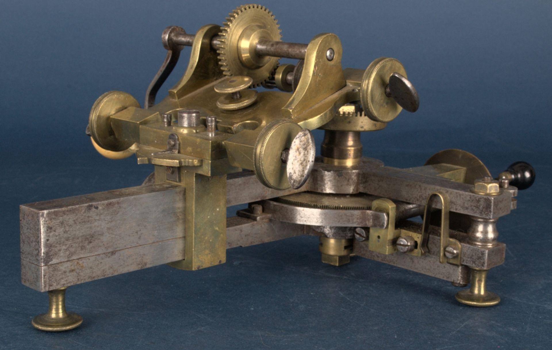 Zahnradfräsmaschine/Zahnräderschneidemaschine, frühes Uhrmacherwerkzeug, deutsch Mitte 18. Jhd., - Bild 4 aus 29