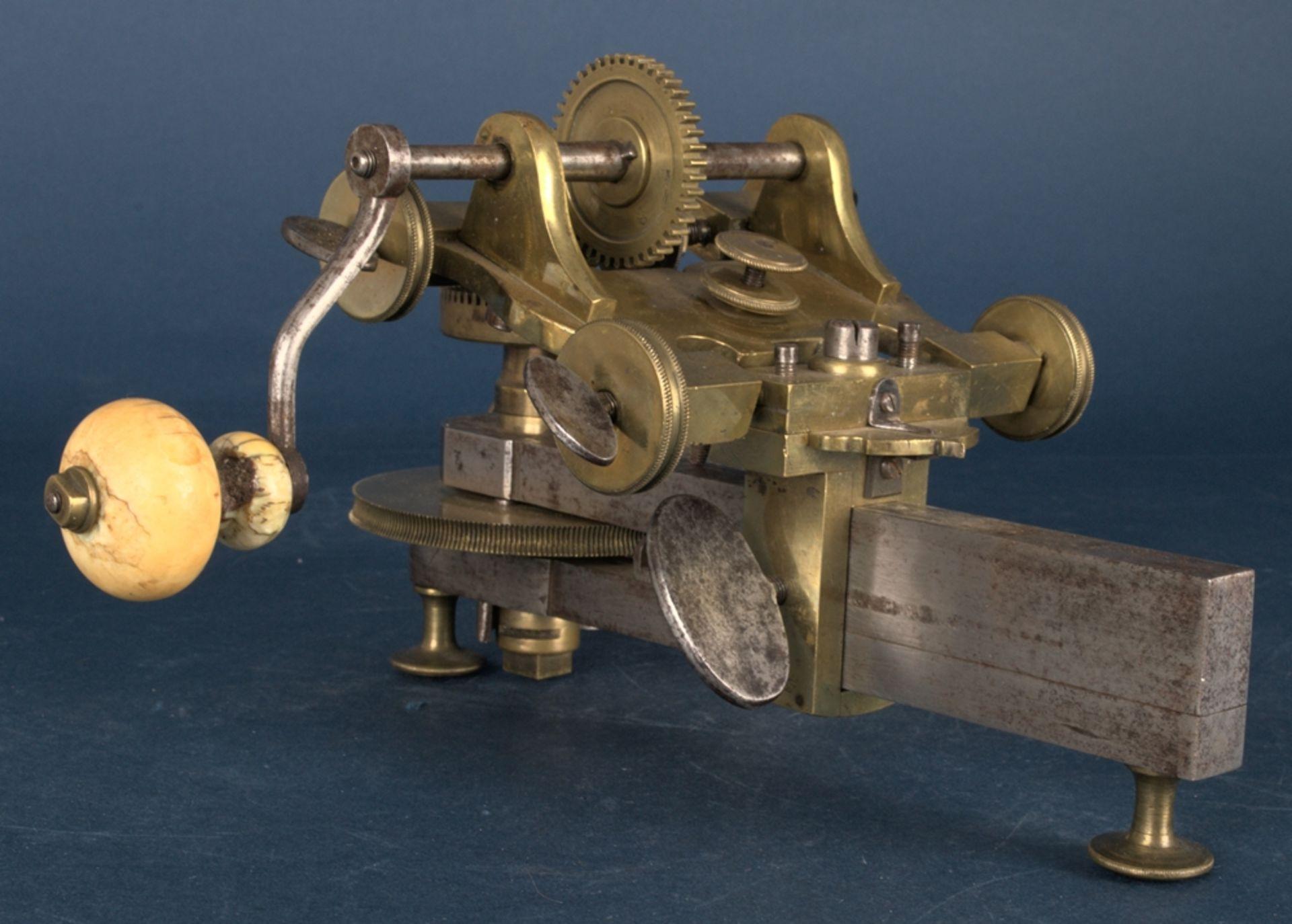 Zahnradfräsmaschine/Zahnräderschneidemaschine, frühes Uhrmacherwerkzeug, deutsch Mitte 18. Jhd., - Bild 8 aus 29