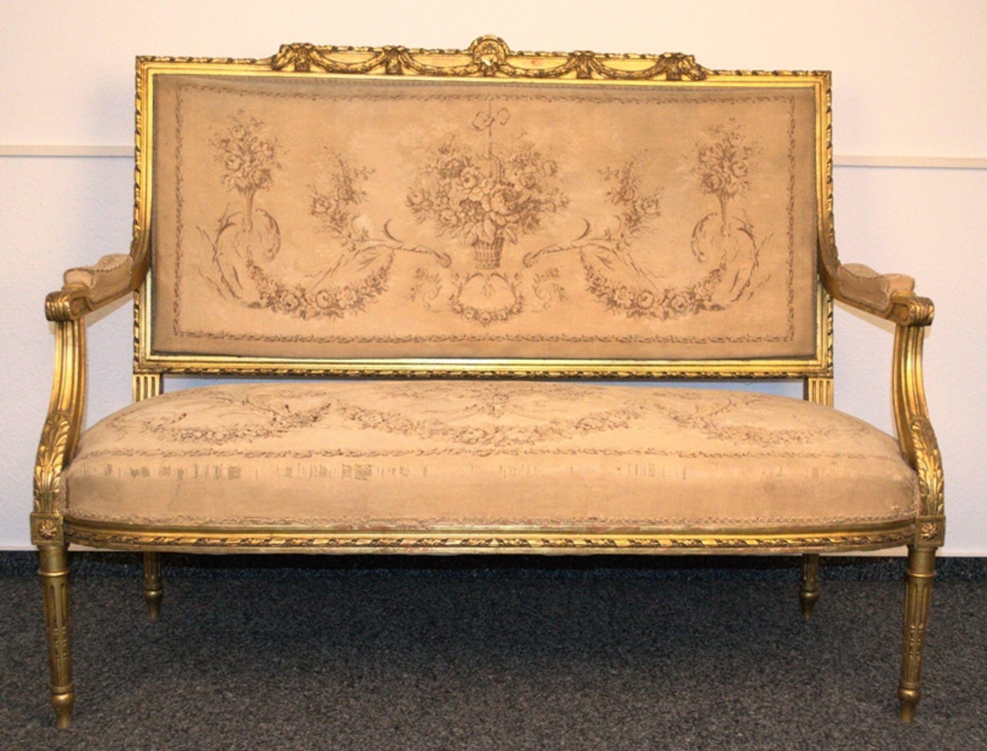 Prachtvolles Kanapee, Louis XVI-Stil, Frankreich um 1890. Zweisitzige, gepolsterte Sitzbank,