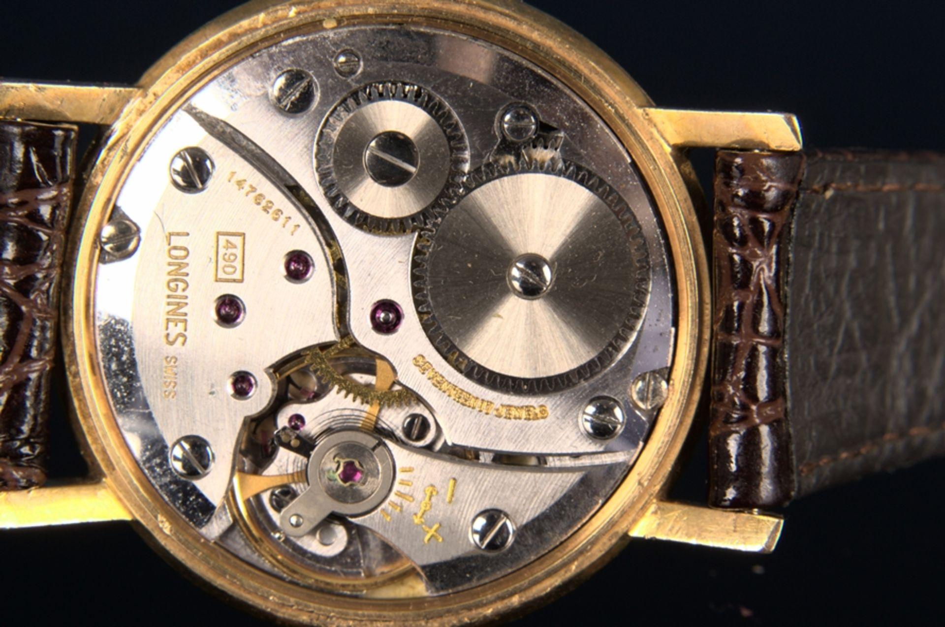 """""""LONGINES"""" - Elegante, goldene Herrenarmbanduhr der Marke Longines. Gehäuse in 18 K Gelbgold, - Bild 8 aus 12"""
