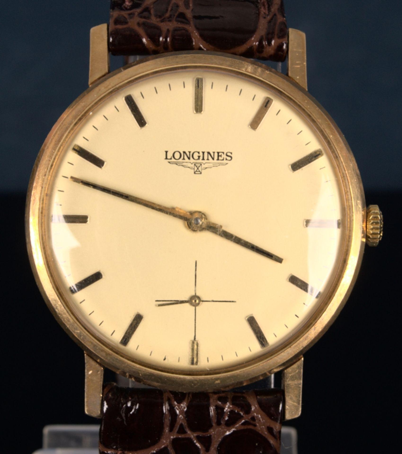 """""""LONGINES"""" - Elegante, goldene Herrenarmbanduhr der Marke Longines. Gehäuse in 18 K Gelbgold, - Bild 3 aus 12"""