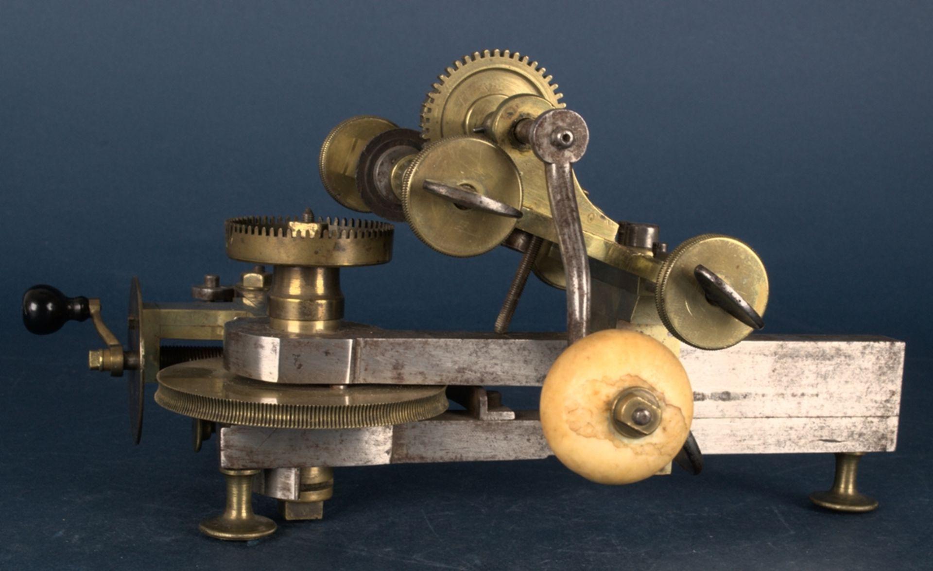 Zahnradfräsmaschine/Zahnräderschneidemaschine, frühes Uhrmacherwerkzeug, deutsch Mitte 18. Jhd., - Bild 10 aus 29
