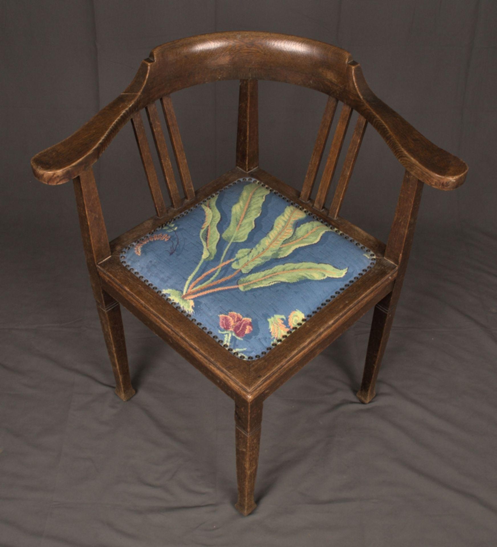 Schreibtischstuhl, Jugendstil deutsch um 1900/20. Eiche massiv, Gestell zu verleimen/unrestaurierter - Bild 4 aus 8