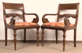 Paar Armlehnstühle. Norddeutsches Biedermeier um 1850. Mahagoni. Ältere Restauration &