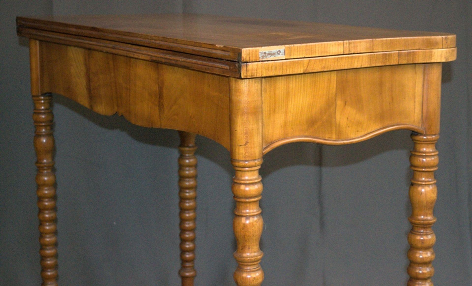 Konsoltisch/Spieltisch. Spätes Biedermeier um 1840/50. Kirschbaum massiv & furniert. Gepflegter - Bild 17 aus 24