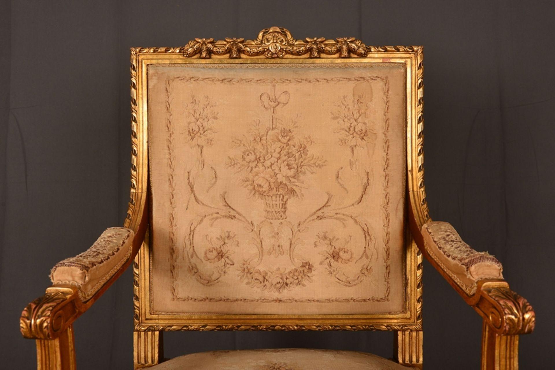 Eleganter Armlehnstuhl sog. Fauteuil, Louis XVI-Stil, Frankreich um 1890, originale Stoffbespannung, - Bild 2 aus 12