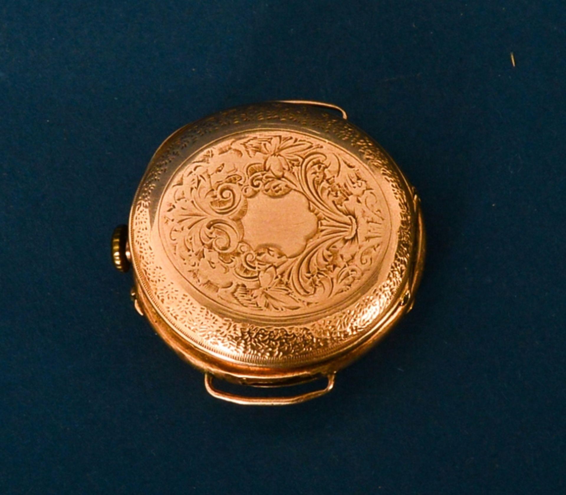 Frühe Damenarmbanduhr, um 1900. Aufwändig gestaltetes 585er Gelbgoldgehäuse, Durchmesser ca. 30 - Bild 2 aus 7