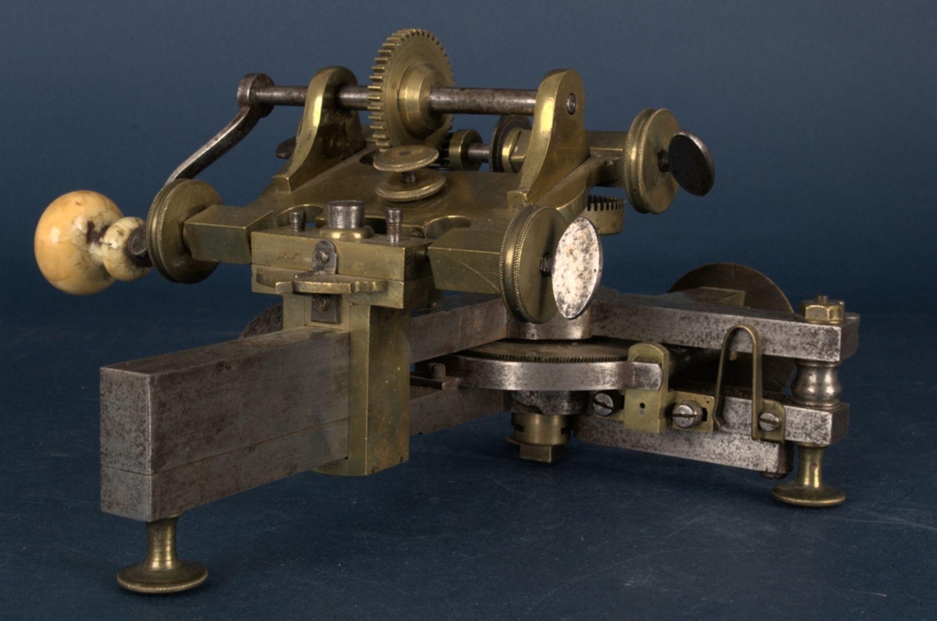 Zahnradfräsmaschine/Zahnräderschneidemaschine, frühes Uhrmacherwerkzeug, deutsch Mitte 18. Jhd., - Bild 21 aus 29