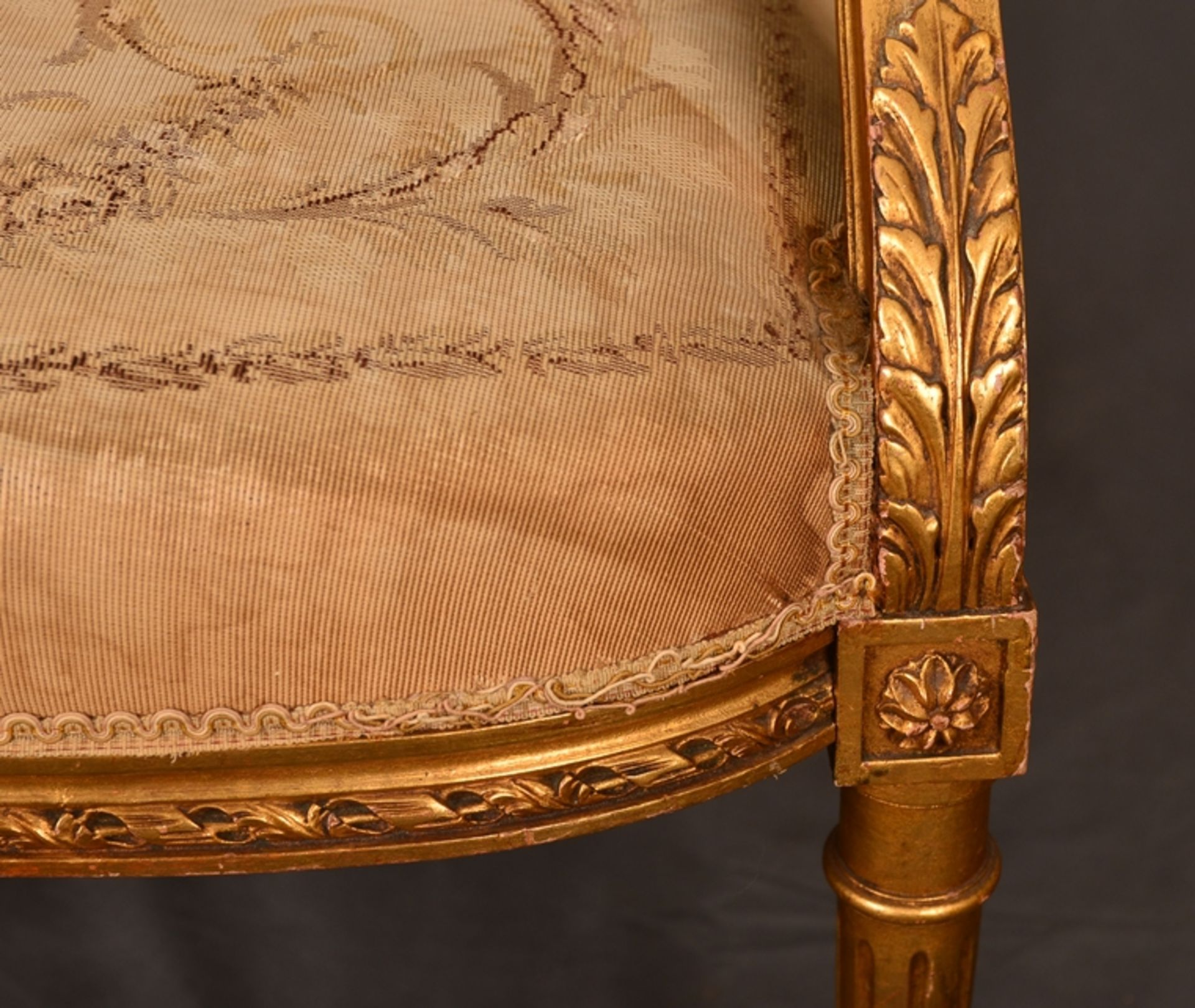 Eleganter Armlehnstuhl sog. Fauteuil, Louis XVI-Stil, Frankreich um 1890, originale Stoffbespannung, - Bild 5 aus 12