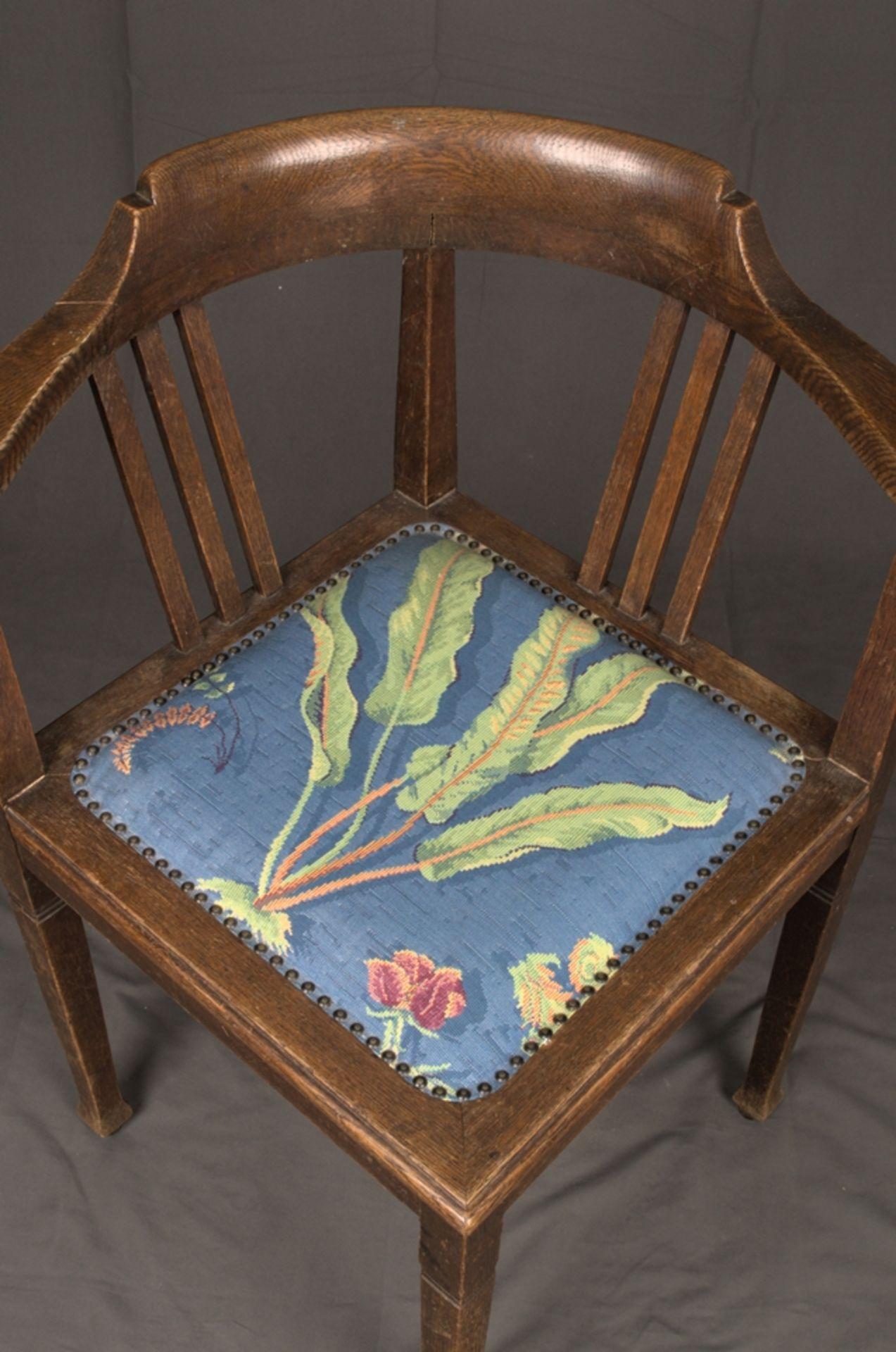 Schreibtischstuhl, Jugendstil deutsch um 1900/20. Eiche massiv, Gestell zu verleimen/unrestaurierter - Bild 6 aus 8