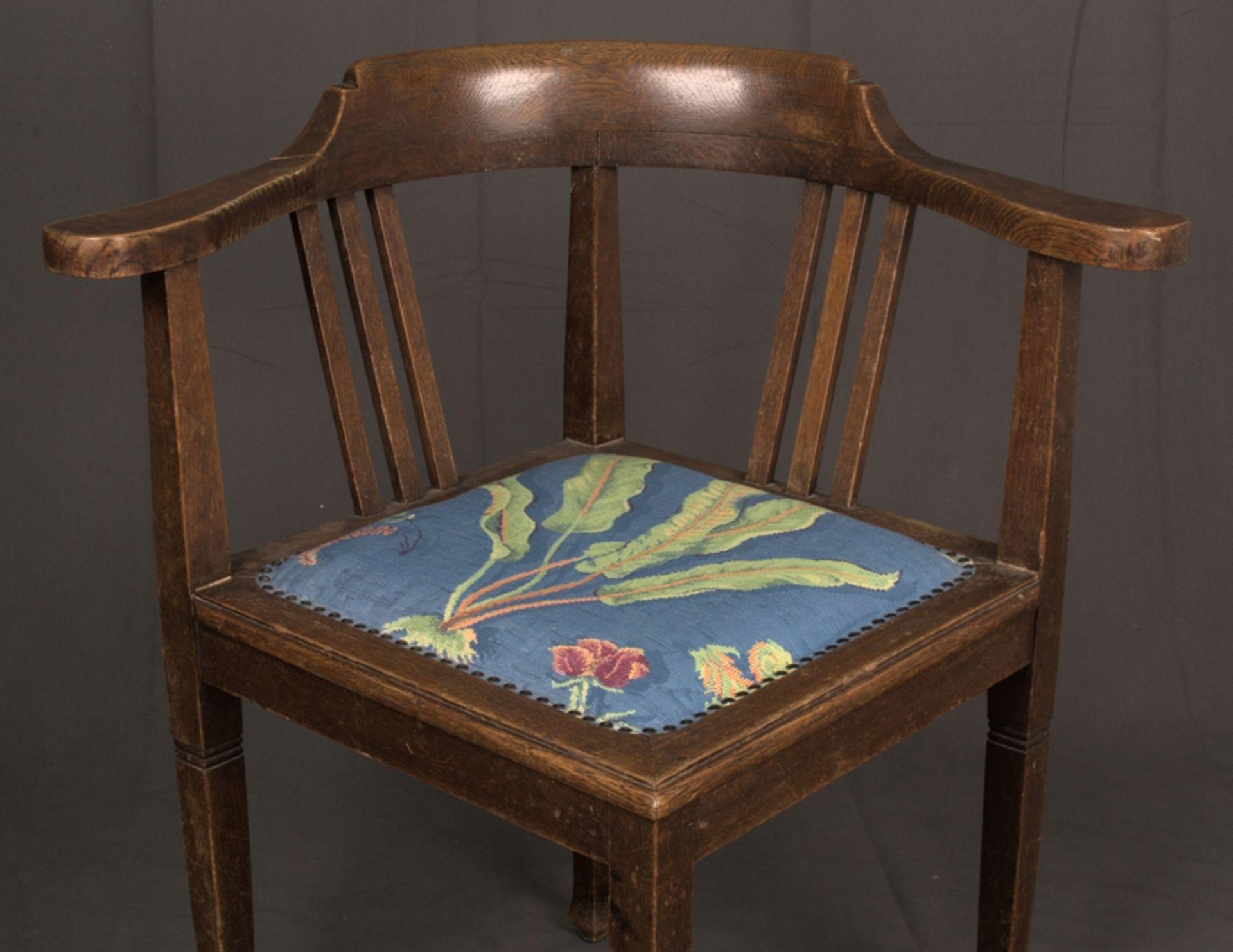 Schreibtischstuhl, Jugendstil deutsch um 1900/20. Eiche massiv, Gestell zu verleimen/unrestaurierter - Bild 2 aus 8