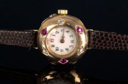 Elegante, frühe Damenarmbanduhr, um 1900, rundes, an der Oberseite gewölbtes, massives 585er