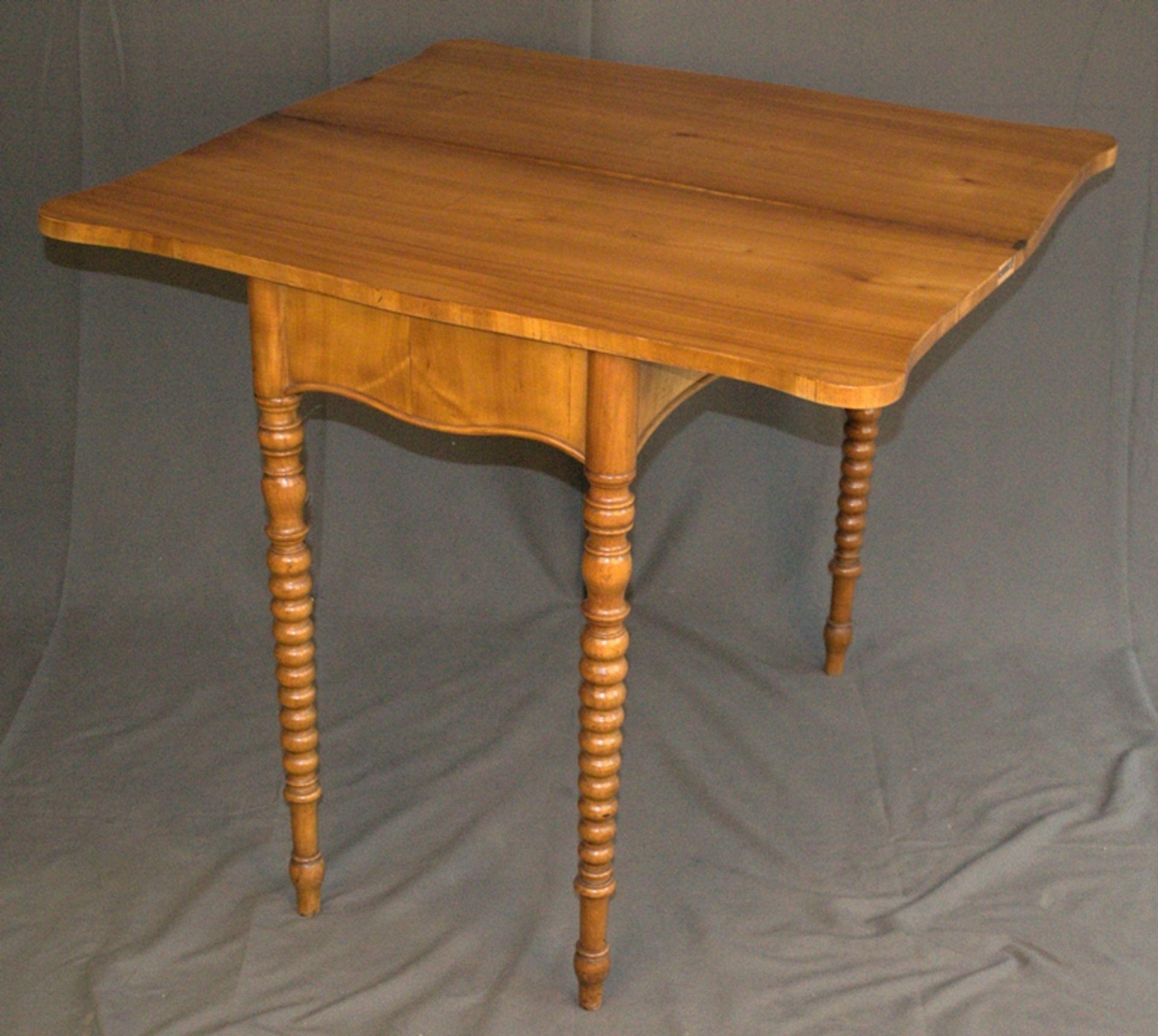 Konsoltisch/Spieltisch. Spätes Biedermeier um 1840/50. Kirschbaum massiv & furniert. Gepflegter - Bild 7 aus 24