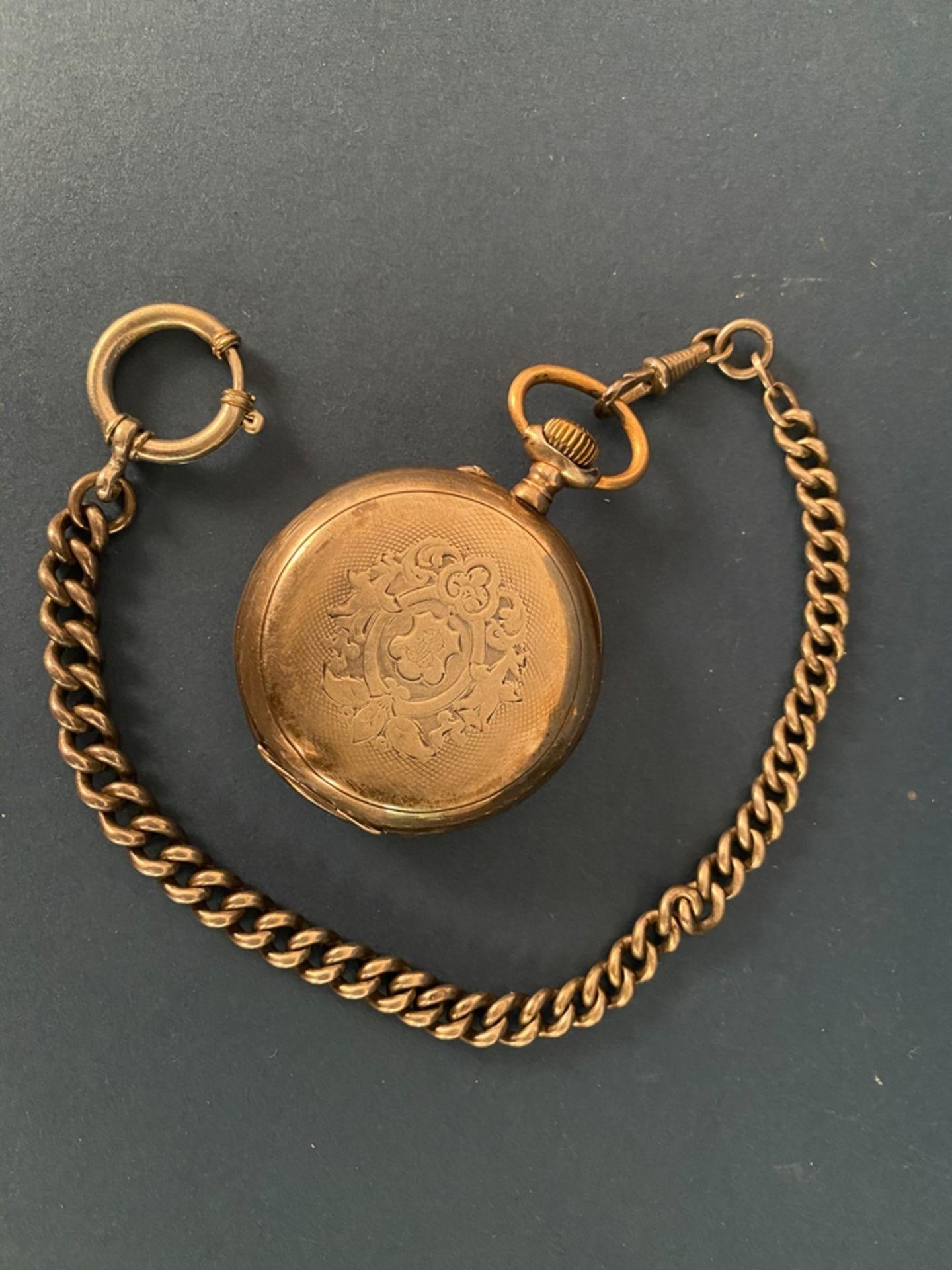 Silberne Taschenuhr an Uhrenkette (Länge ca. 27 cm), beides 800er Silber, ungeprüft (Durchmesser der - Bild 5 aus 7