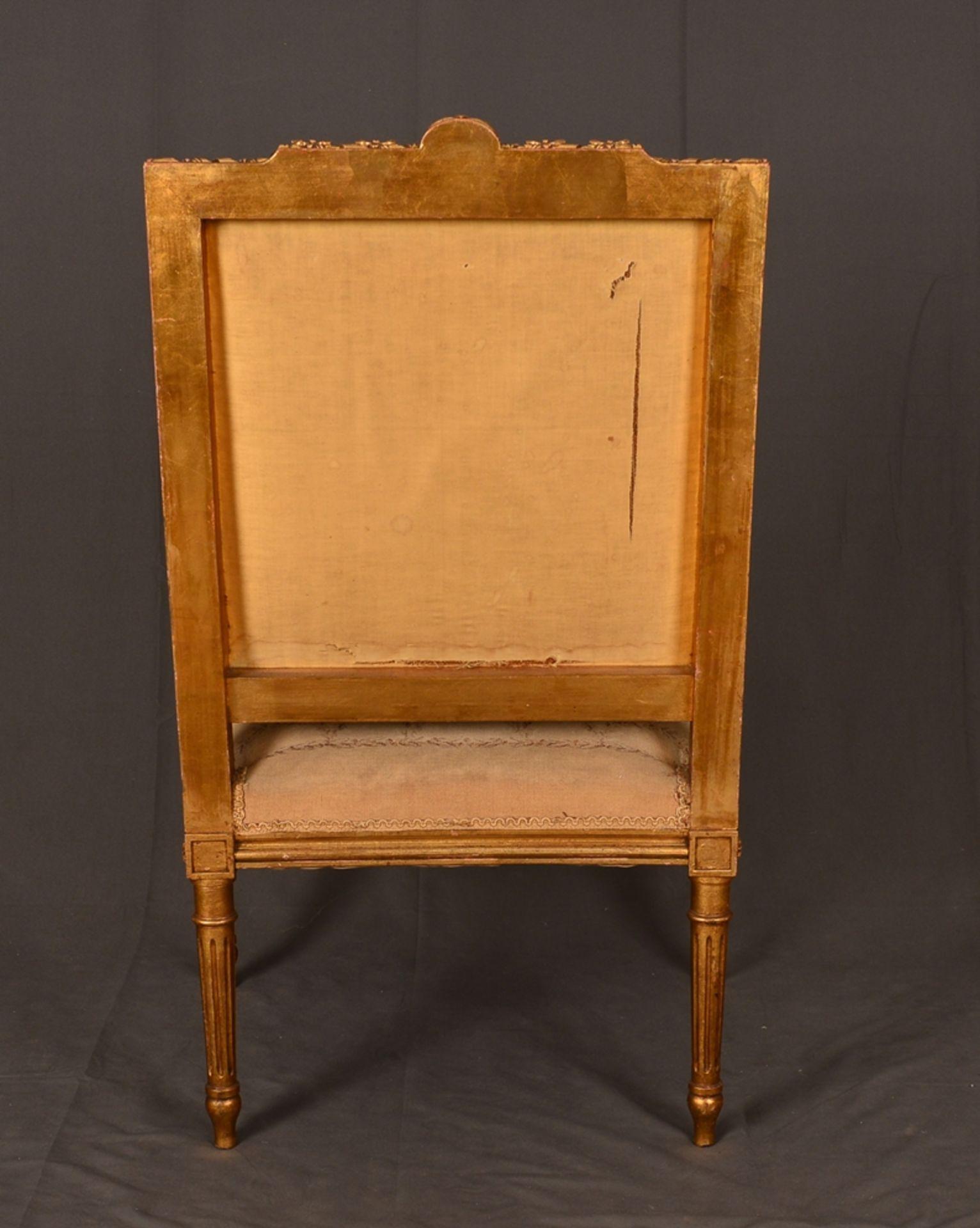 Eleganter Armlehnstuhl sog. Fauteuil, Louis XVI-Stil, Frankreich um 1890, originale Stoffbespannung, - Bild 11 aus 12