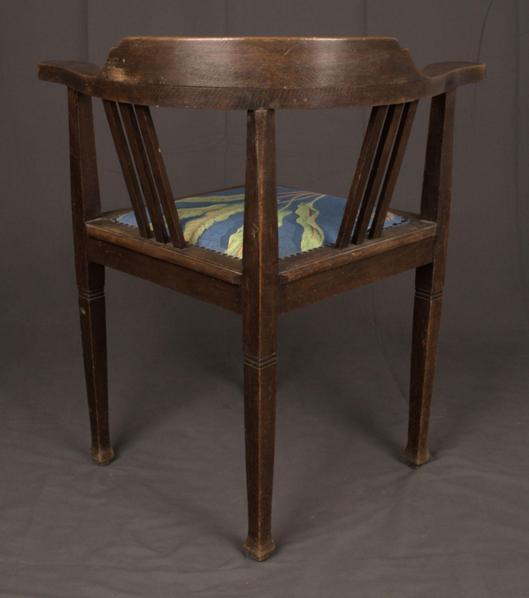 Schreibtischstuhl, Jugendstil deutsch um 1900/20. Eiche massiv, Gestell zu verleimen/unrestaurierter - Bild 5 aus 8