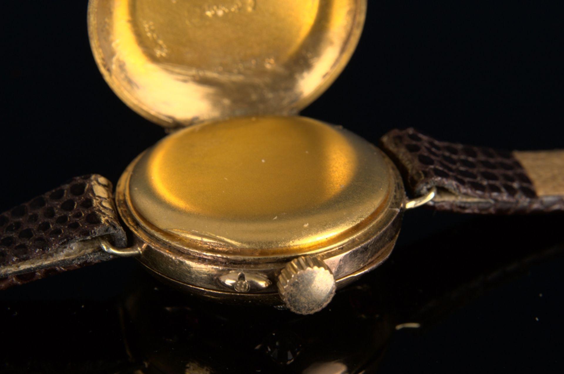 Elegante, frühe Damenarmbanduhr, um 1900, rundes, an der Oberseite gewölbtes, massives 585er - Bild 7 aus 9
