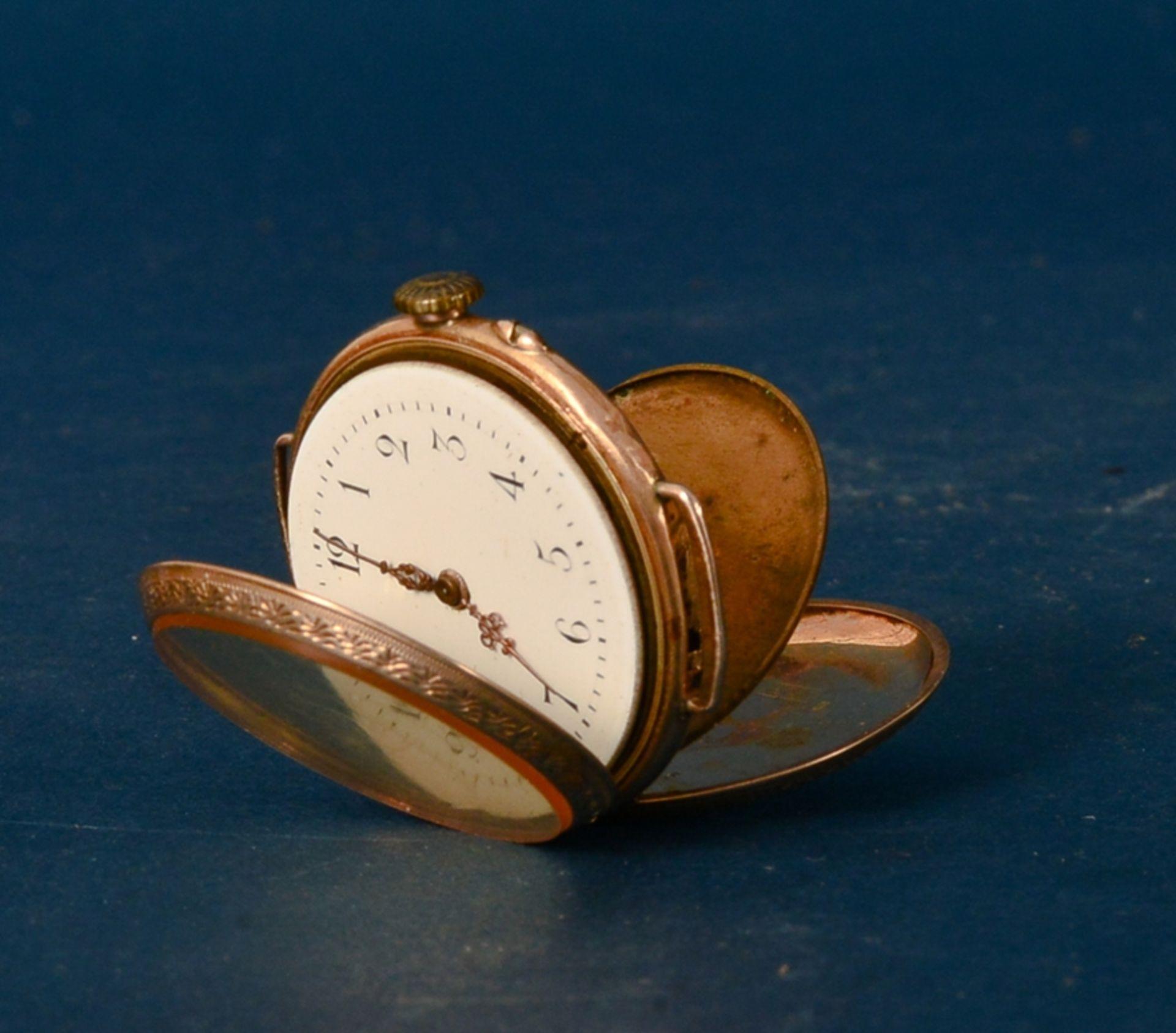 Frühe Damenarmbanduhr, um 1900. Aufwändig gestaltetes 585er Gelbgoldgehäuse, Durchmesser ca. 30 - Bild 5 aus 7