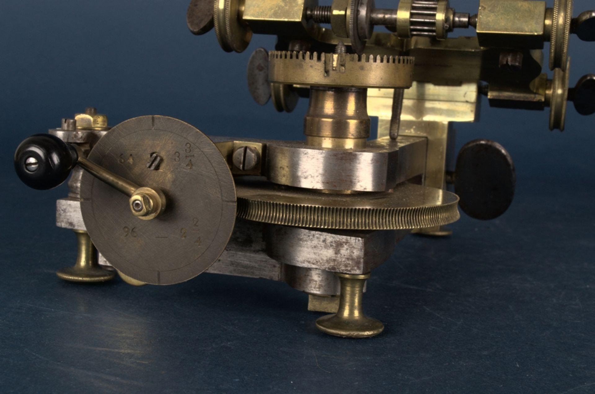 Zahnradfräsmaschine/Zahnräderschneidemaschine, frühes Uhrmacherwerkzeug, deutsch Mitte 18. Jhd., - Bild 15 aus 29