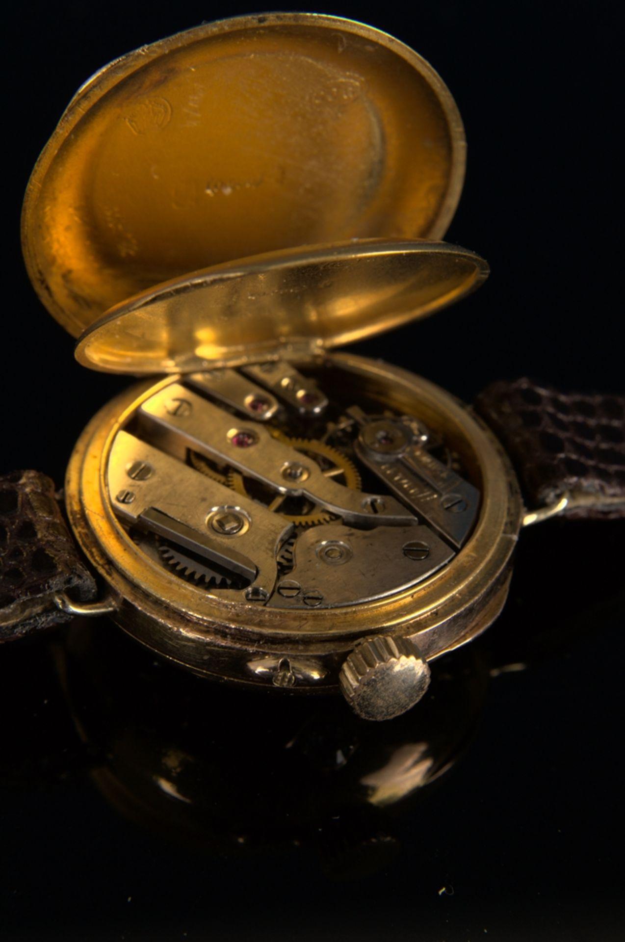 Elegante, frühe Damenarmbanduhr, um 1900, rundes, an der Oberseite gewölbtes, massives 585er - Bild 6 aus 9