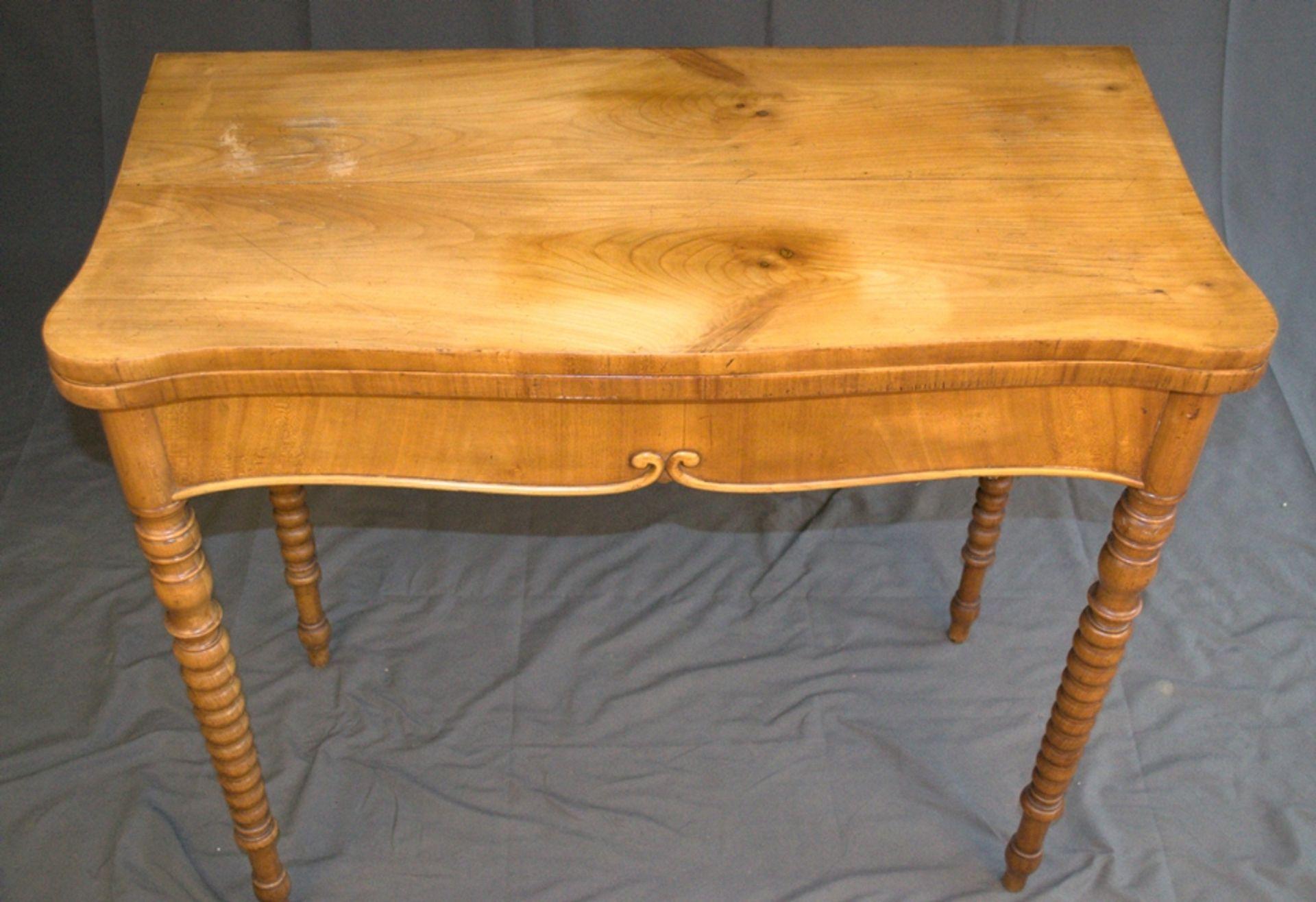 Konsoltisch/Spieltisch. Spätes Biedermeier um 1840/50. Kirschbaum massiv & furniert. Gepflegter - Bild 24 aus 24