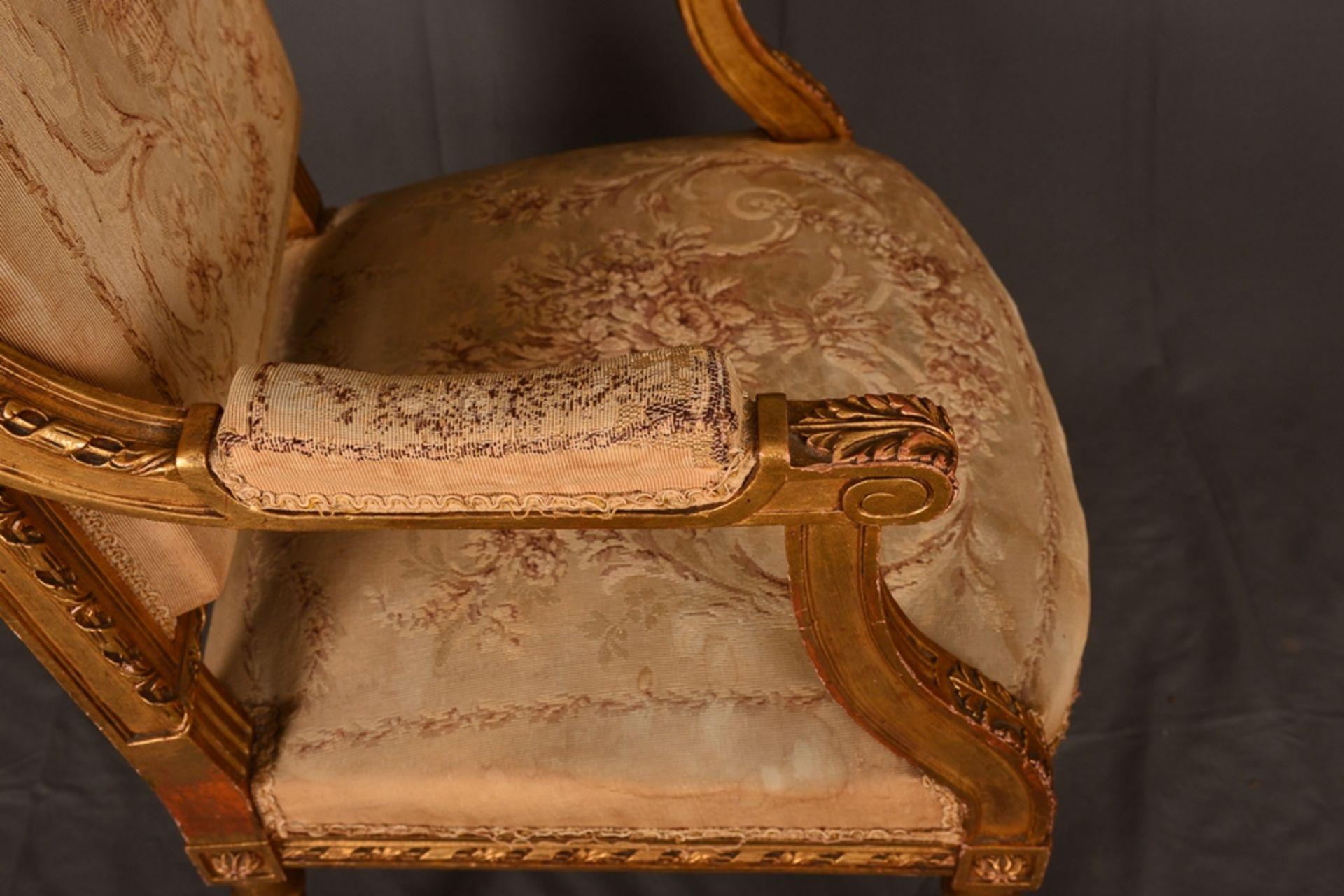 Eleganter Armlehnstuhl sog. Fauteuil, Louis XVI-Stil, Frankreich um 1890, originale Stoffbespannung, - Bild 7 aus 12