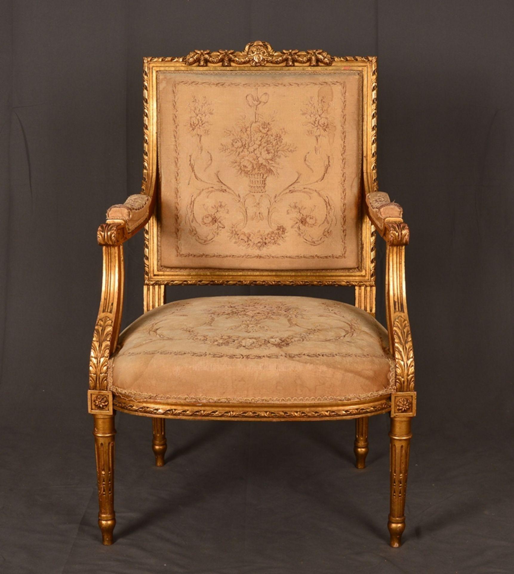 Eleganter Armlehnstuhl sog. Fauteuil, Louis XVI-Stil, Frankreich um 1890, originale Stoffbespannung,