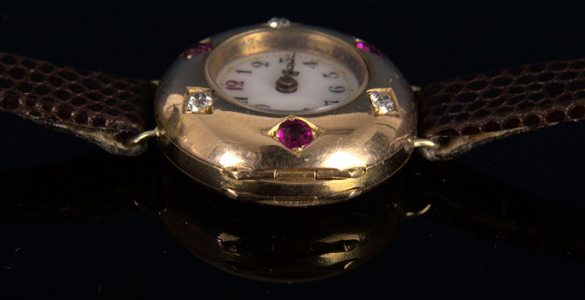 Elegante, frühe Damenarmbanduhr, um 1900, rundes, an der Oberseite gewölbtes, massives 585er - Bild 9 aus 9