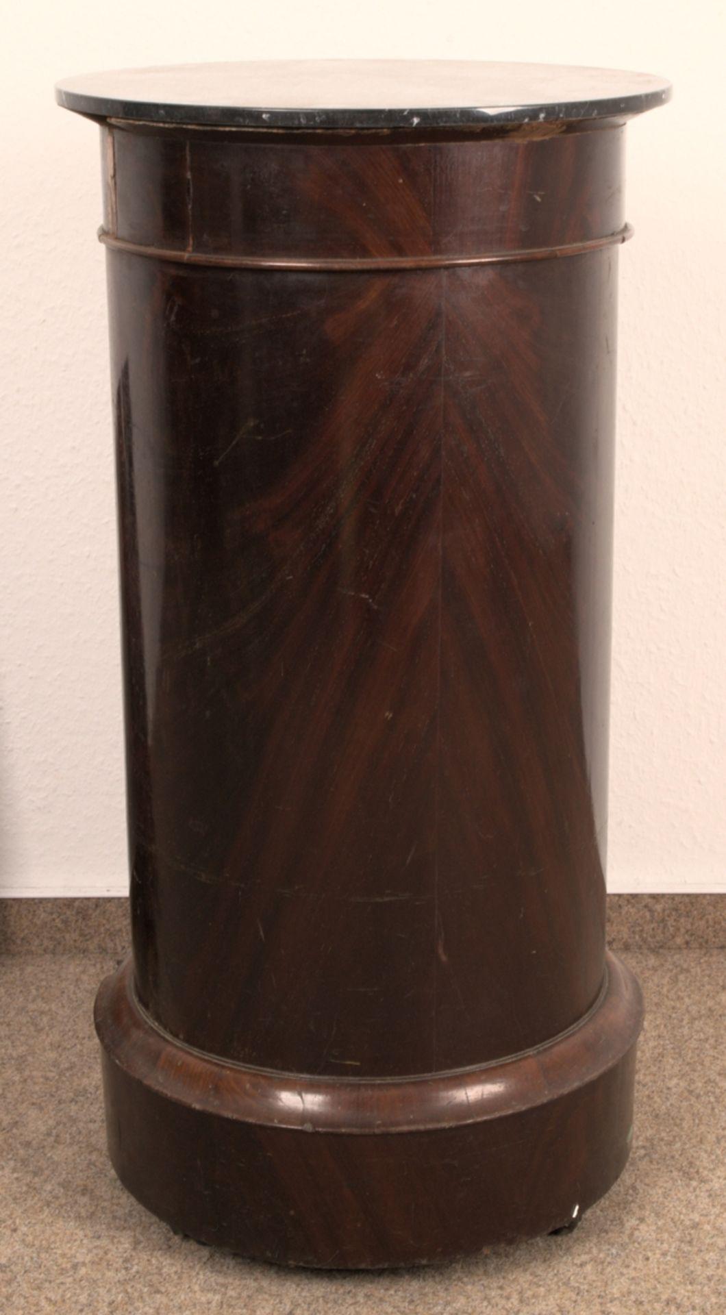 Antiker Säulenschrank/Trommelschrank, Biedermeier/Charles X, Frankreich 19./20. Jhd. Auf - Bild 7 aus 7