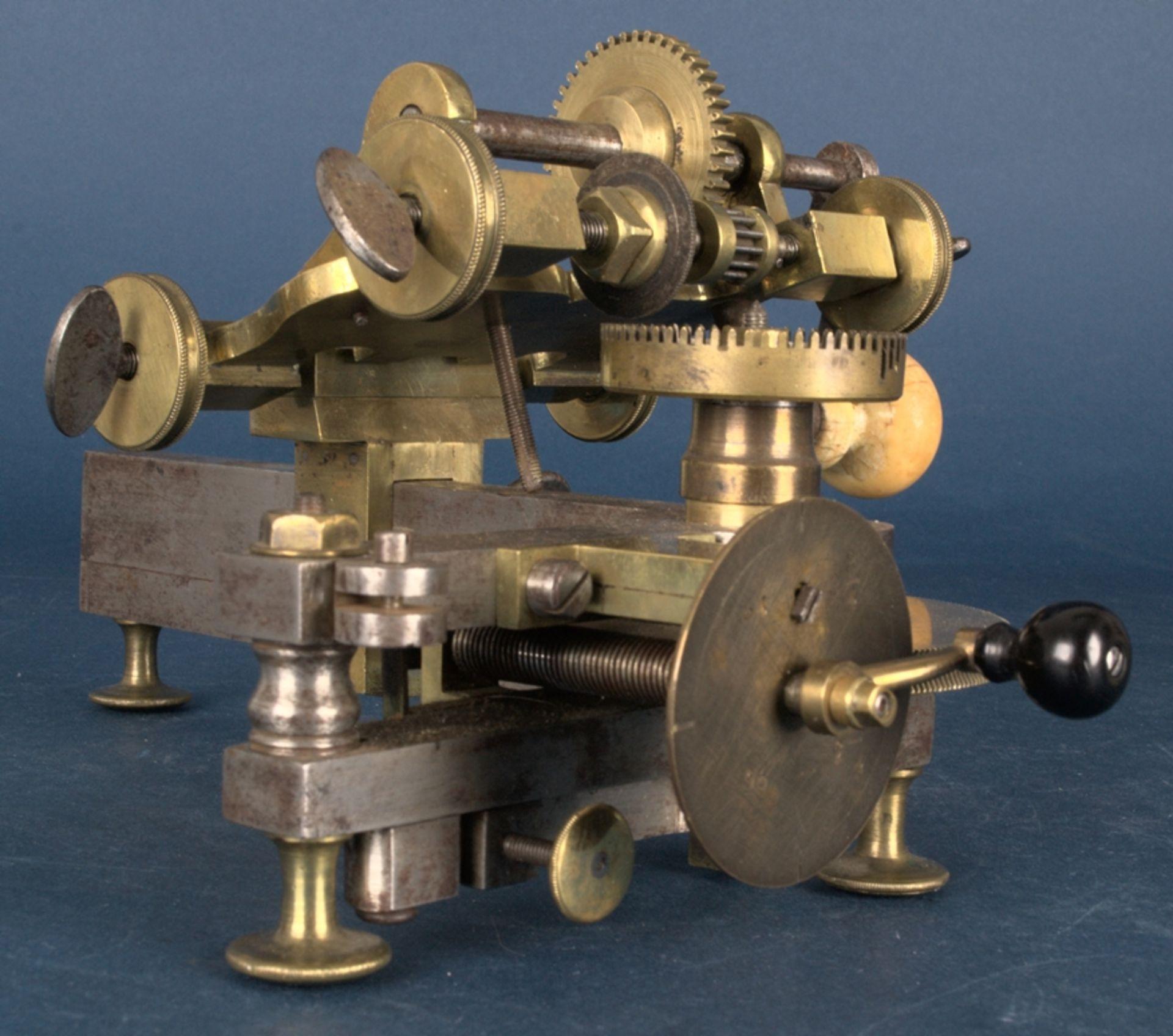 Zahnradfräsmaschine/Zahnräderschneidemaschine, frühes Uhrmacherwerkzeug, deutsch Mitte 18. Jhd., - Bild 17 aus 29