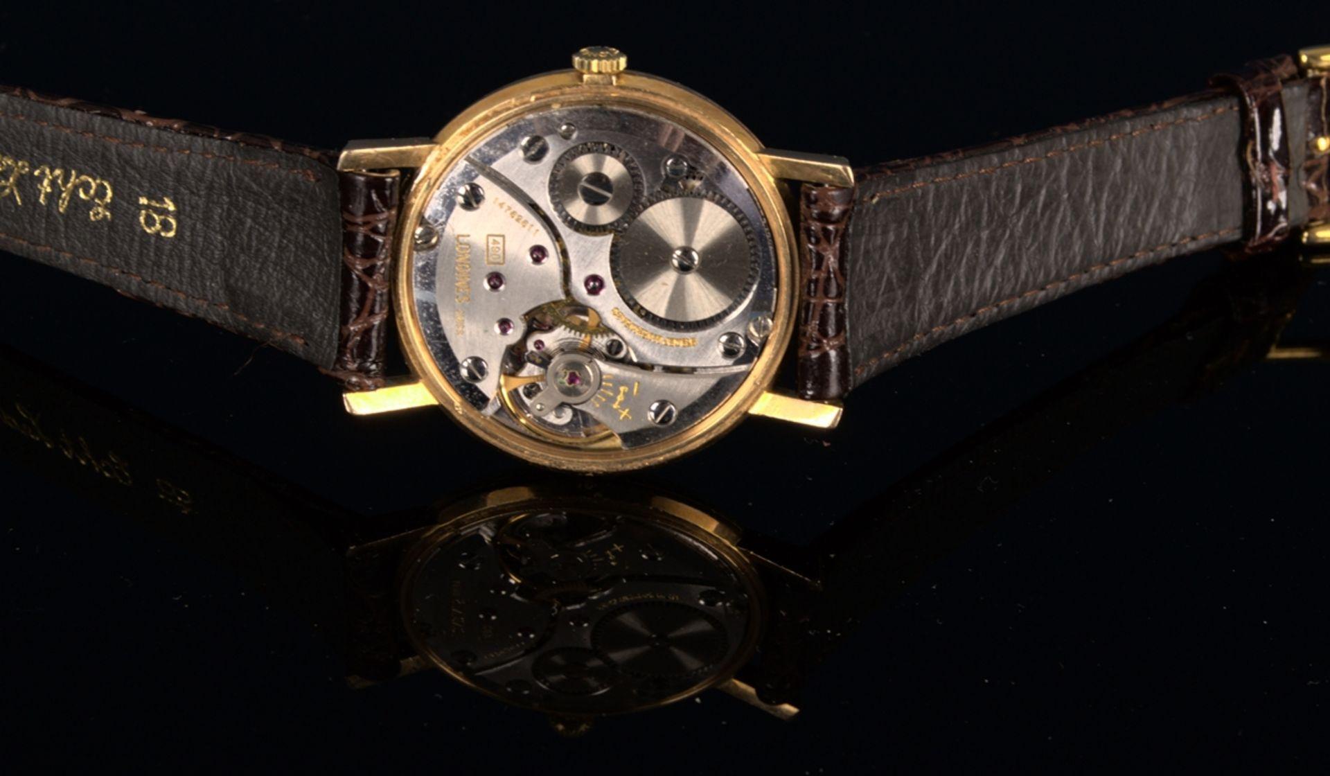 """""""LONGINES"""" - Elegante, goldene Herrenarmbanduhr der Marke Longines. Gehäuse in 18 K Gelbgold, - Bild 10 aus 12"""