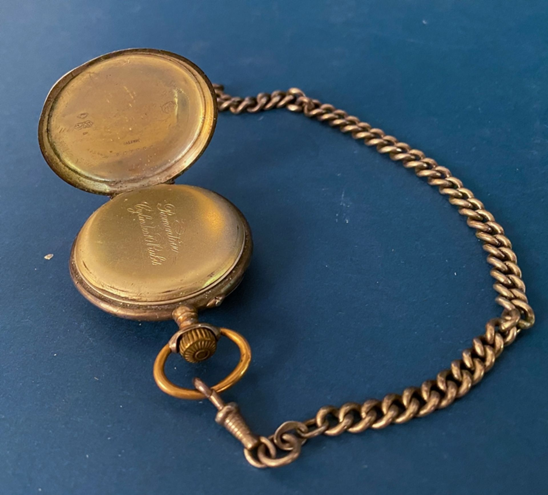 Silberne Taschenuhr an Uhrenkette (Länge ca. 27 cm), beides 800er Silber, ungeprüft (Durchmesser der - Bild 7 aus 7
