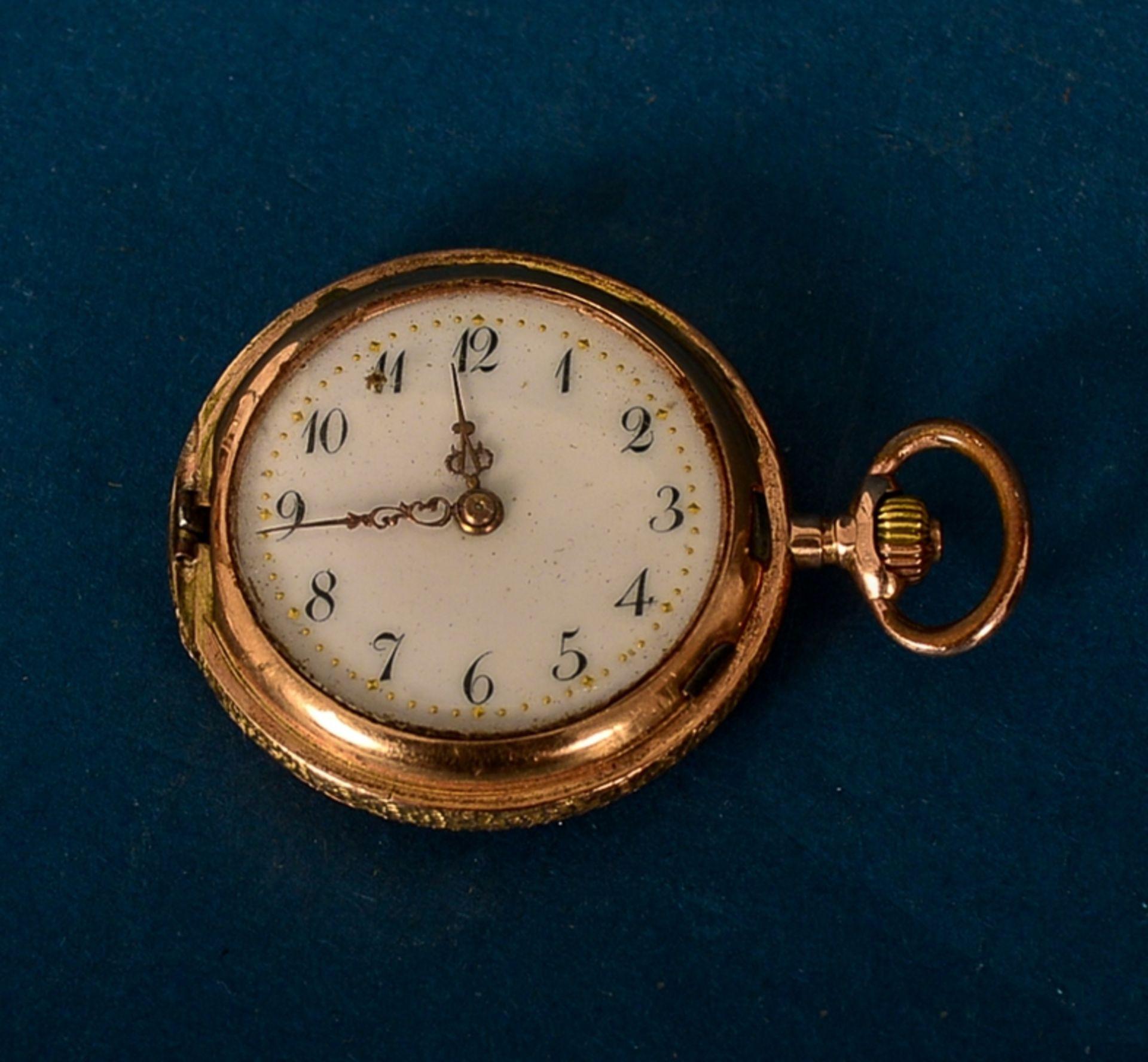 """585er Damen-Taschenuhr im Geschenketui des """"Uhrmacher S. Freund aus Marburg an der Lahn"""". Vorderer - Bild 3 aus 6"""