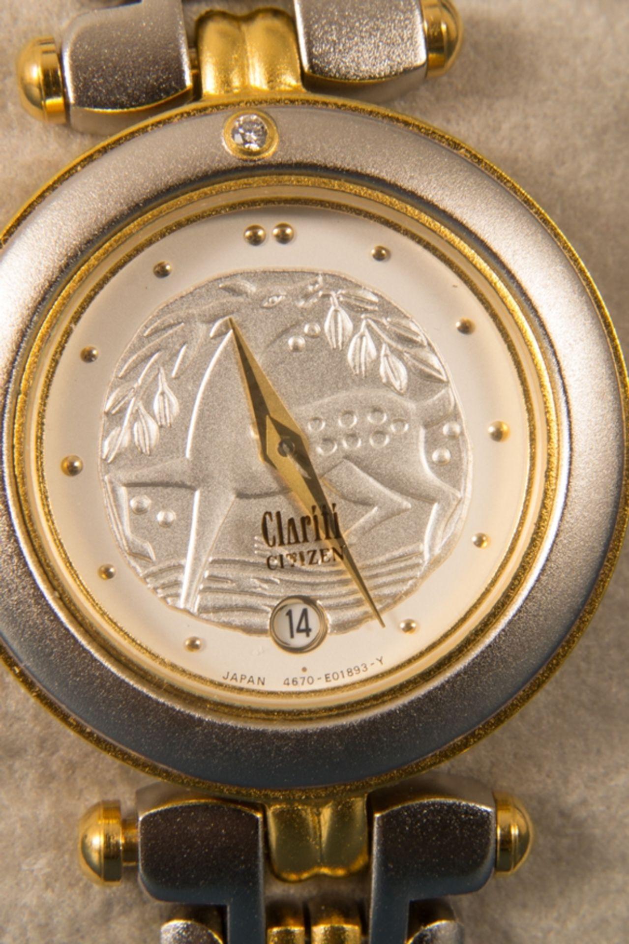 CITIZEN - CLARITI - BICOLOR (Stahl/Gold) Damenarmbanduhr, Ziffernblatt mit figürlicher Vignette (Reh - Bild 5 aus 8