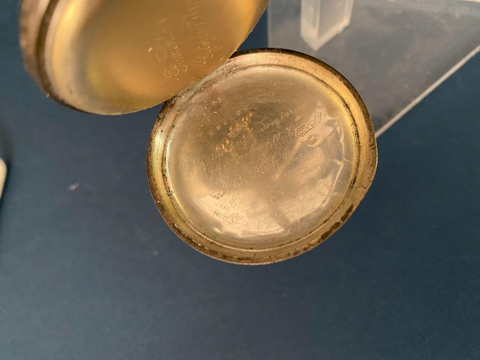 Silberne Taschenuhr an Uhrenkette (Länge ca. 27 cm), beides 800er Silber, ungeprüft (Durchmesser der - Bild 3 aus 7