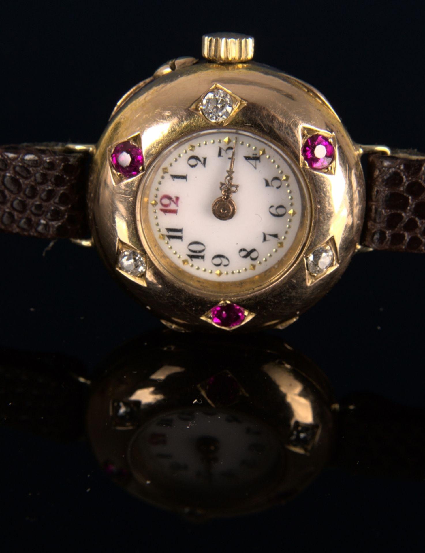 Elegante, frühe Damenarmbanduhr, um 1900, rundes, an der Oberseite gewölbtes, massives 585er - Bild 4 aus 9