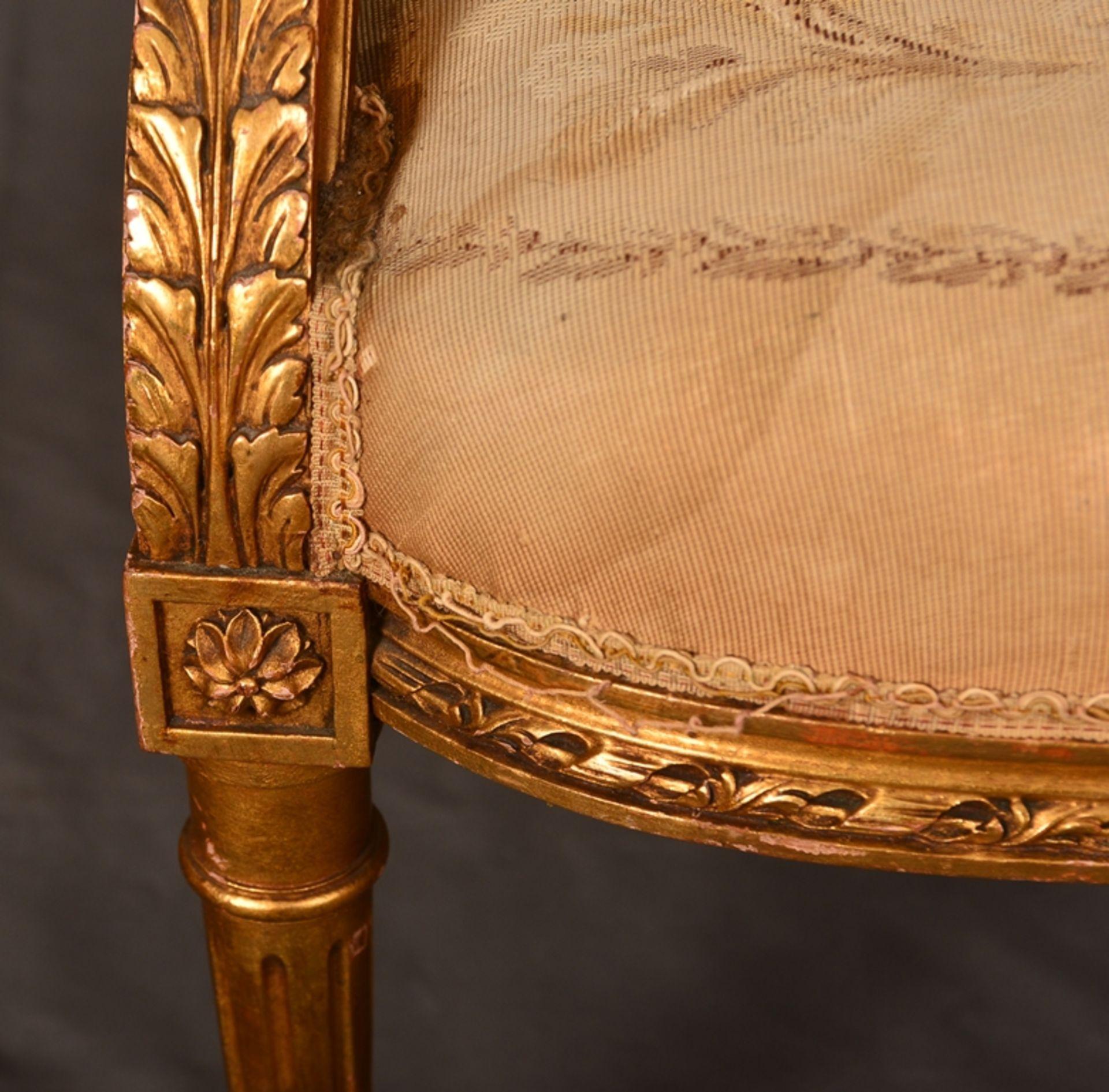 Eleganter Armlehnstuhl sog. Fauteuil, Louis XVI-Stil, Frankreich um 1890, originale Stoffbespannung, - Bild 4 aus 12